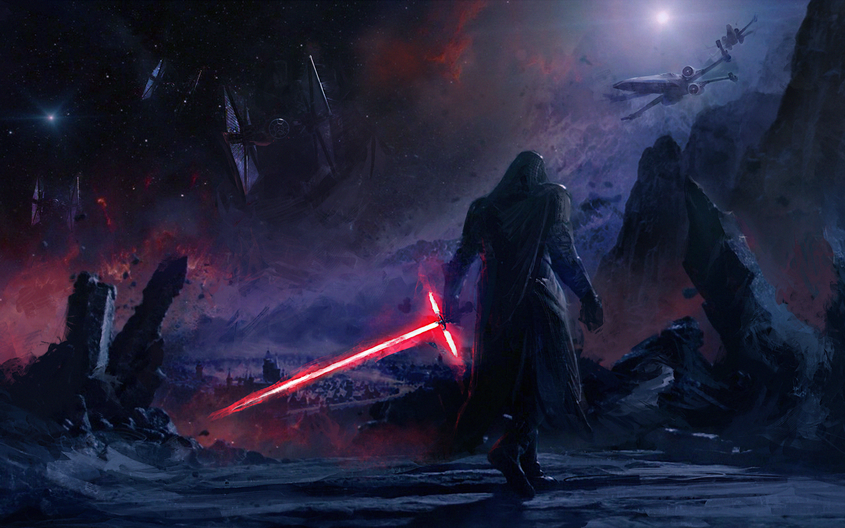 kylo ren star wars artwork 4k x7