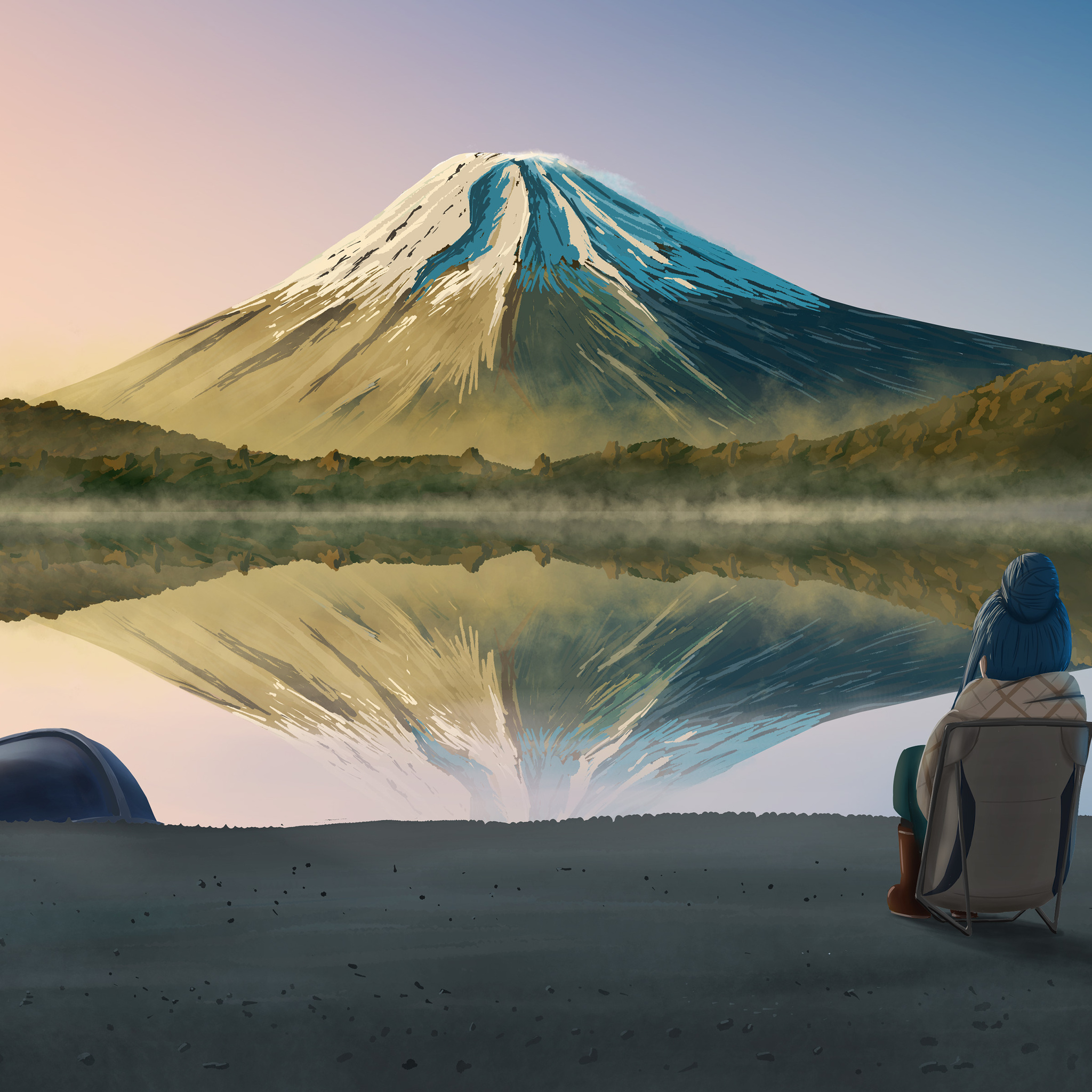 2048x2048 Laid Back Camp Nadeshiko Kagamihara Rin Shima Ipad Air Hd 4k Wallpapers Images Backgrounds Photos And Pictures