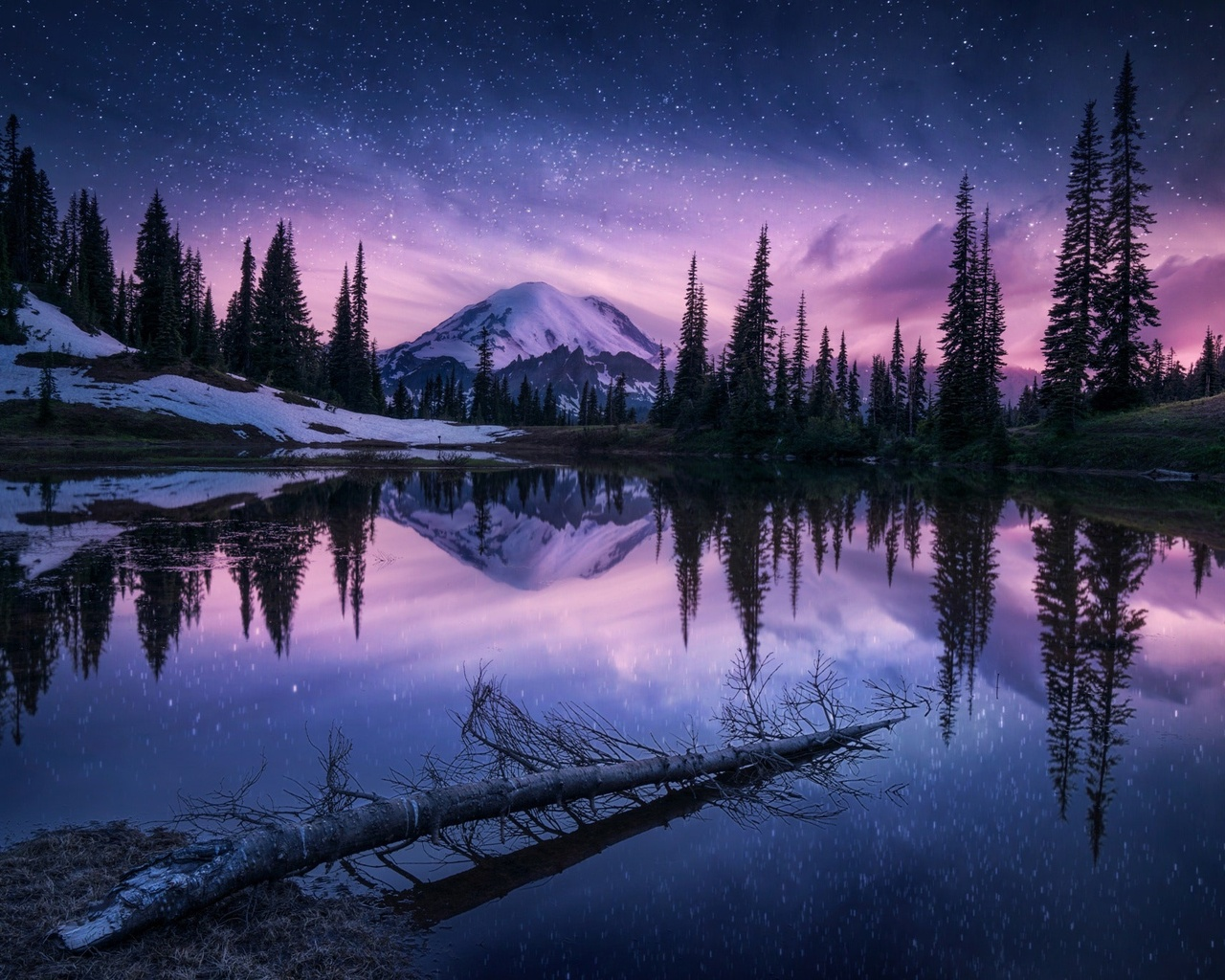 1280x1024 Lake Nature Night Reflection 1280x1024