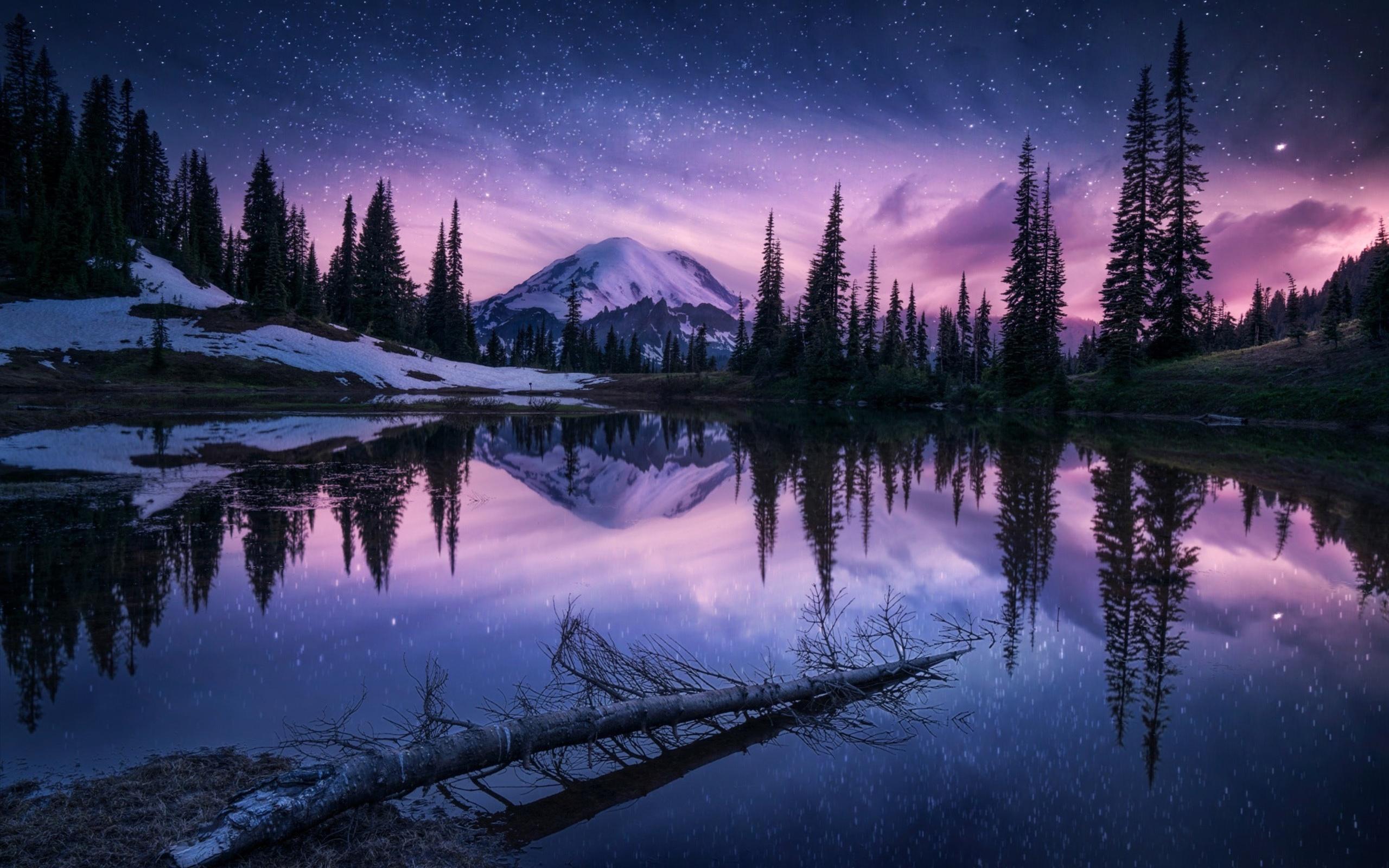 природа деревья озеро отражение гора ночь без смс
