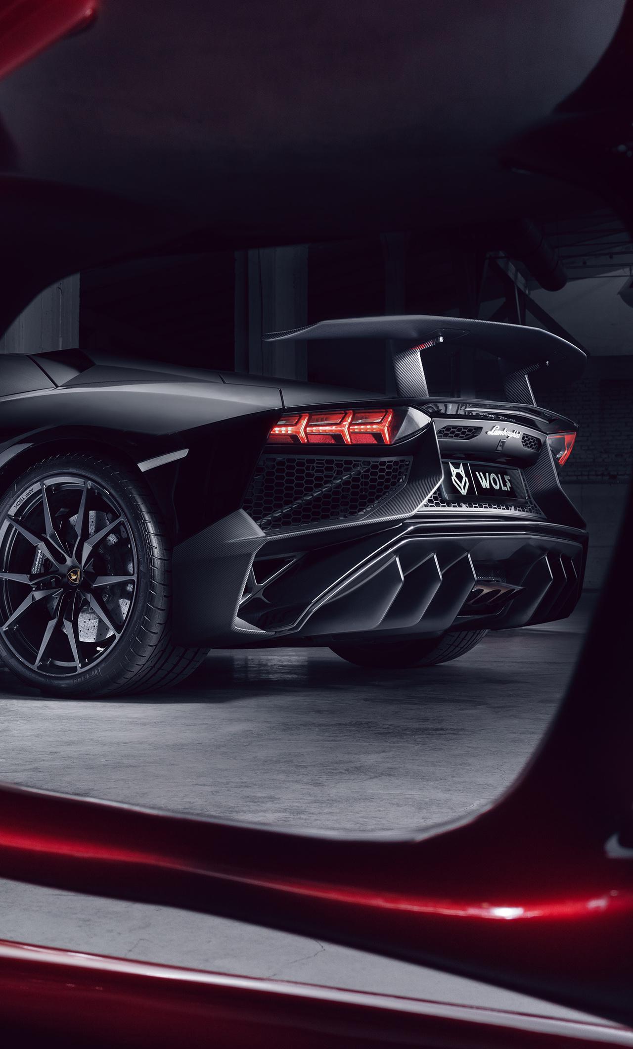 1280x2120 Lamborghini Aventador Black Red Wolf 4k Iphone 6 Hd 4k