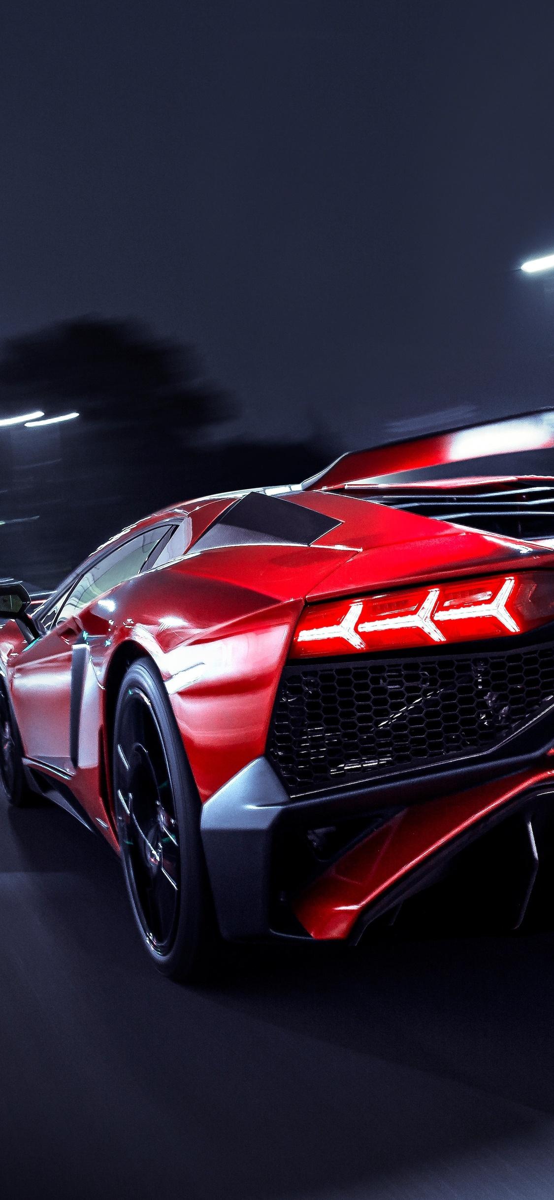 1125x2436 Lamborghini Aventador Sv Rear Lights Iphone Xs