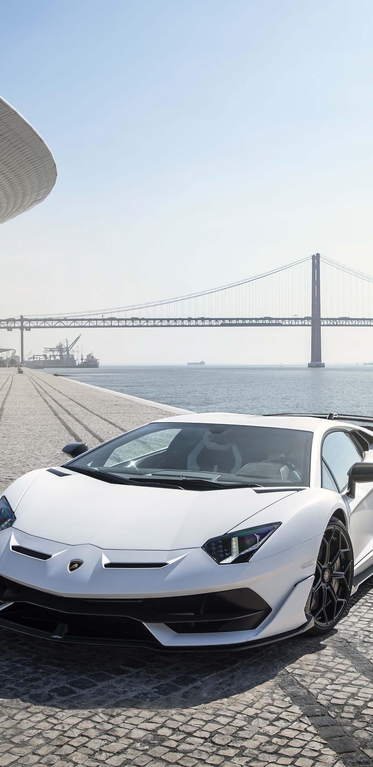 1440x2960 Lamborghini Aventador Svj White Lisbon 5k Samsung Galaxy