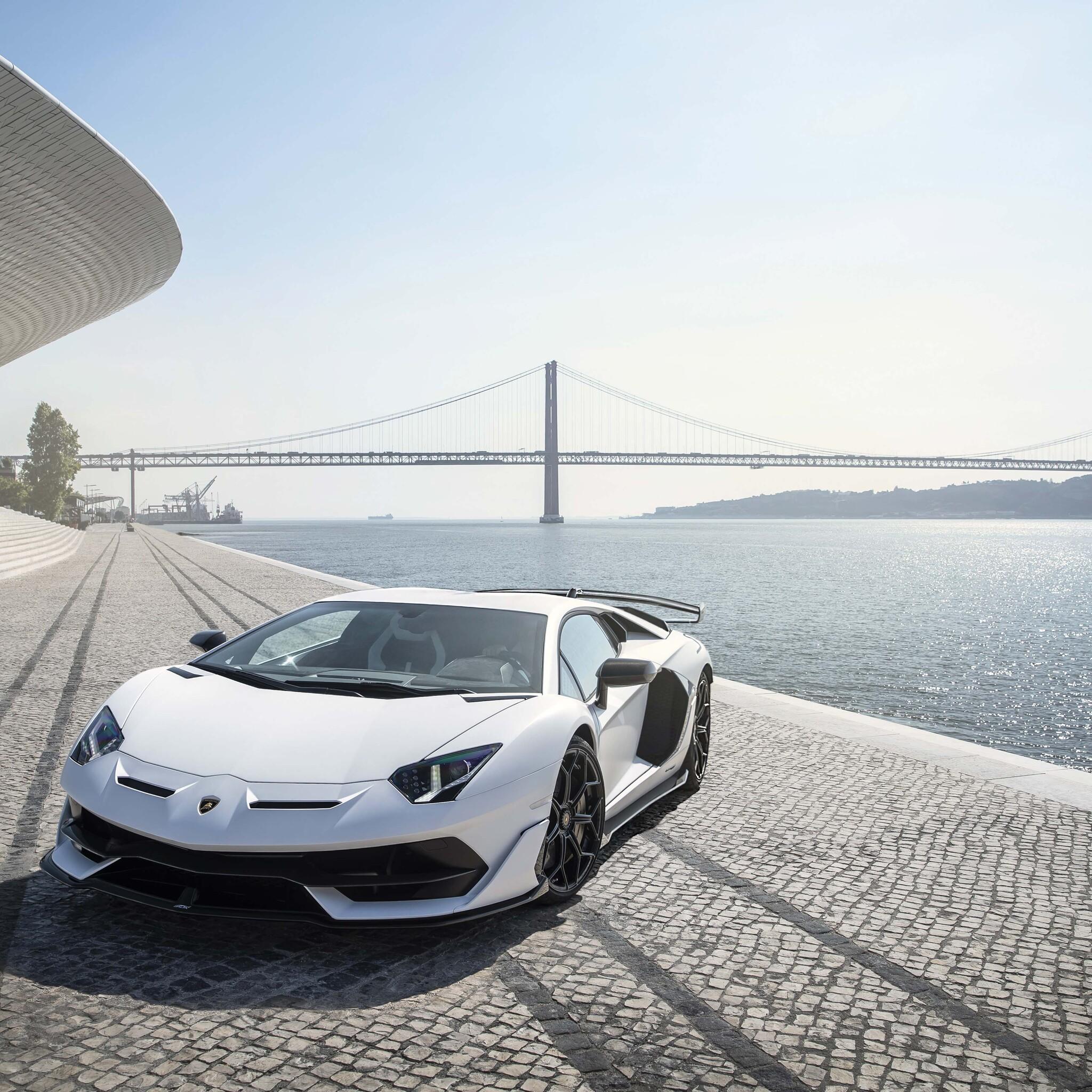 2048x2048 Lamborghini Aventador Svj White Lisbon 5k Ipad