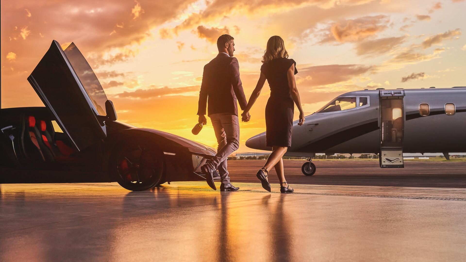 1920x1080 Lamborghini Business Private Jet Married Couple