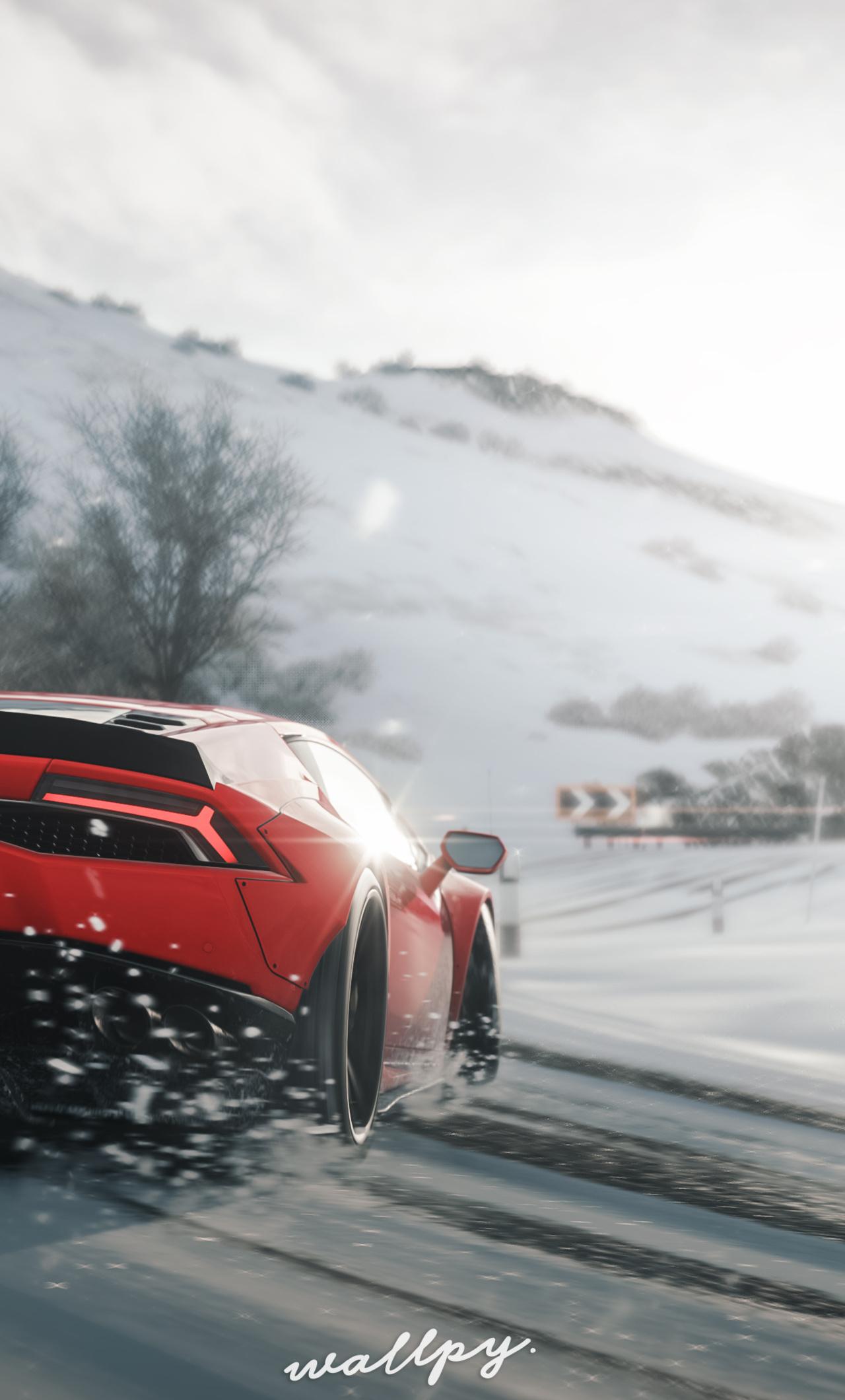 1280x2120 Lamborghini Huracan Drift In Snow Forza Horizon 4 Iphone 6