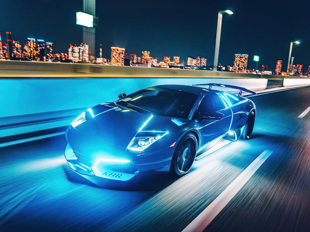 1024x768 Lamborghini Murcielago Neon Lights 4k 1024x768 ...