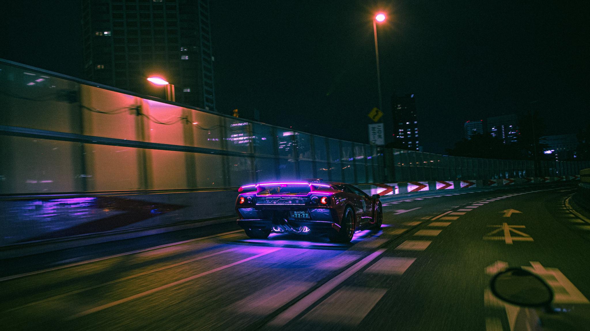 2048x1152 Lamborghini Neon Lights On Road 4k 2048x1152 ...