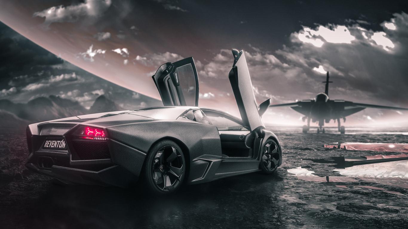 1366x768 Lamborghini Reventon With Jet 1366x768 Resolution Hd 4k