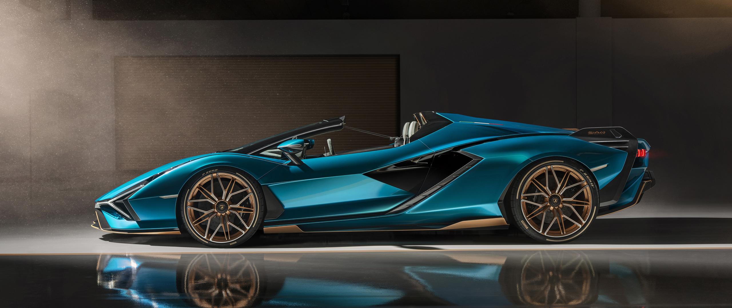 2560x1080 Lamborghini Sian Roadster 2020 Side View 8k ...