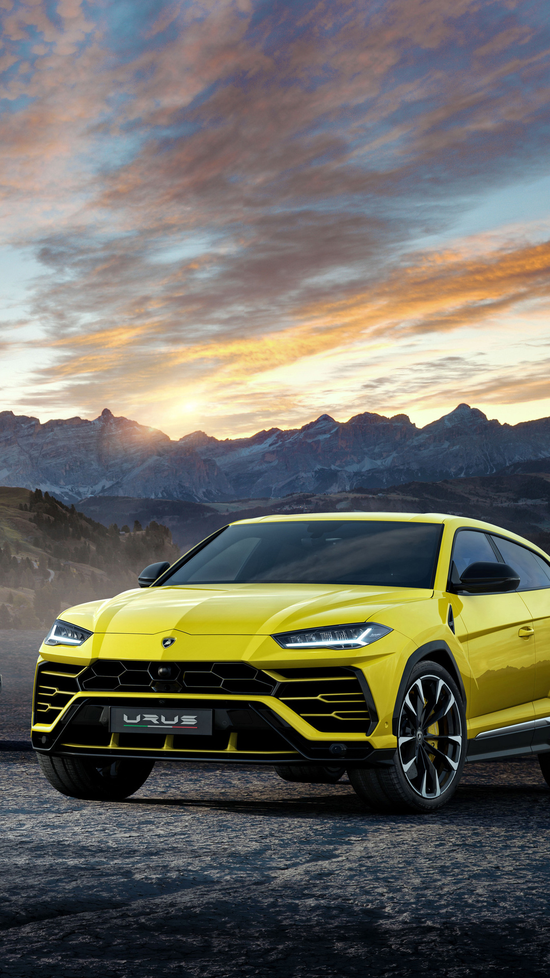 1080x1920 Lamborghini Urus Black And Yellow 4k Iphone 7 6s 6 Plus
