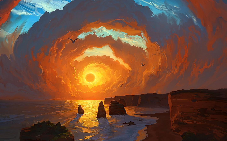 1440x900 Landscape Sea Sunset Clouds 1440x900 Resolution Hd