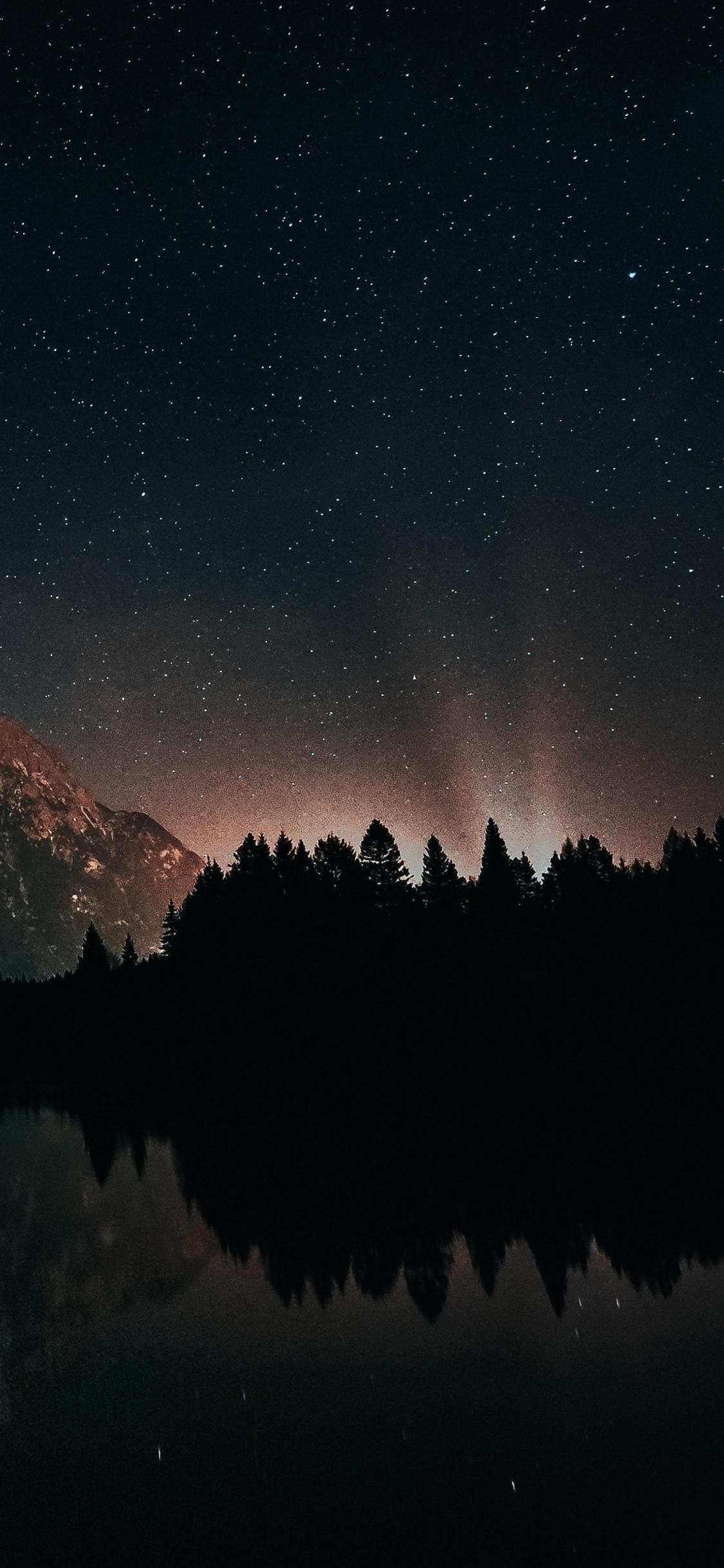 1125x2436 Last Back Light Of Sun Landscape Starry Night