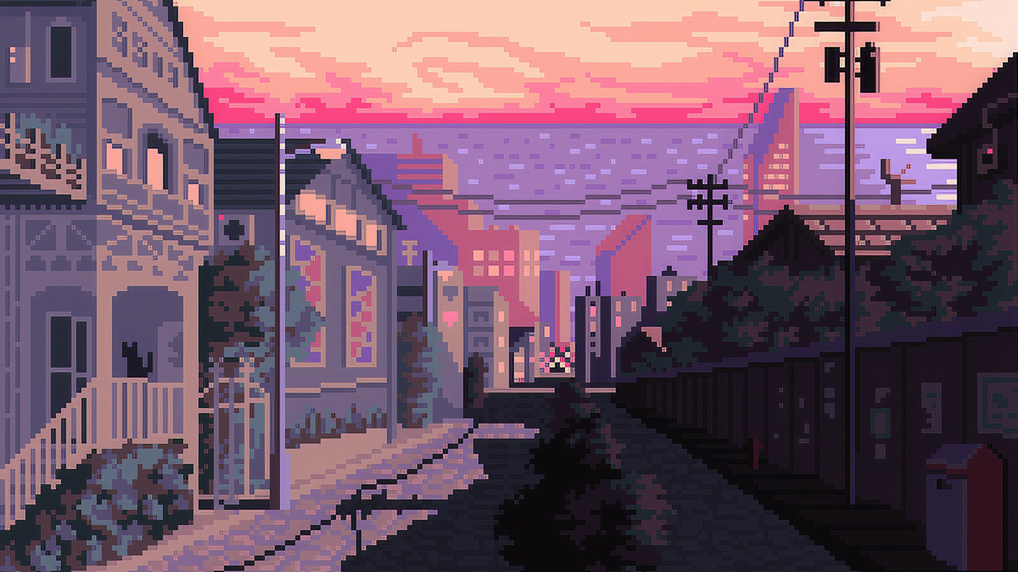 2048x1152 Late Afternoon Pixel Art 2048x1152 Resolution Hd