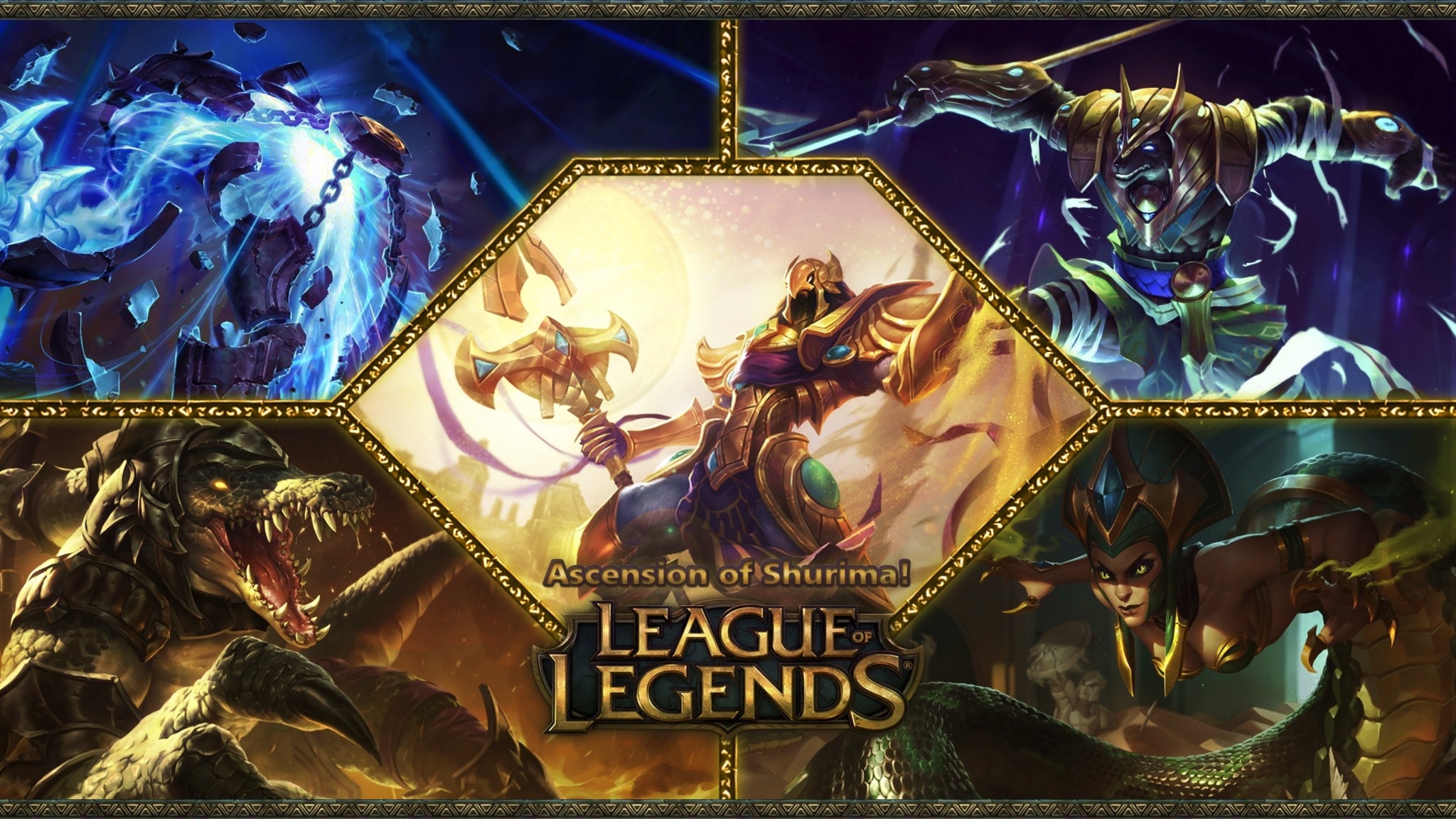 2048x1152 League Of Legends Game Poster 2048x1152