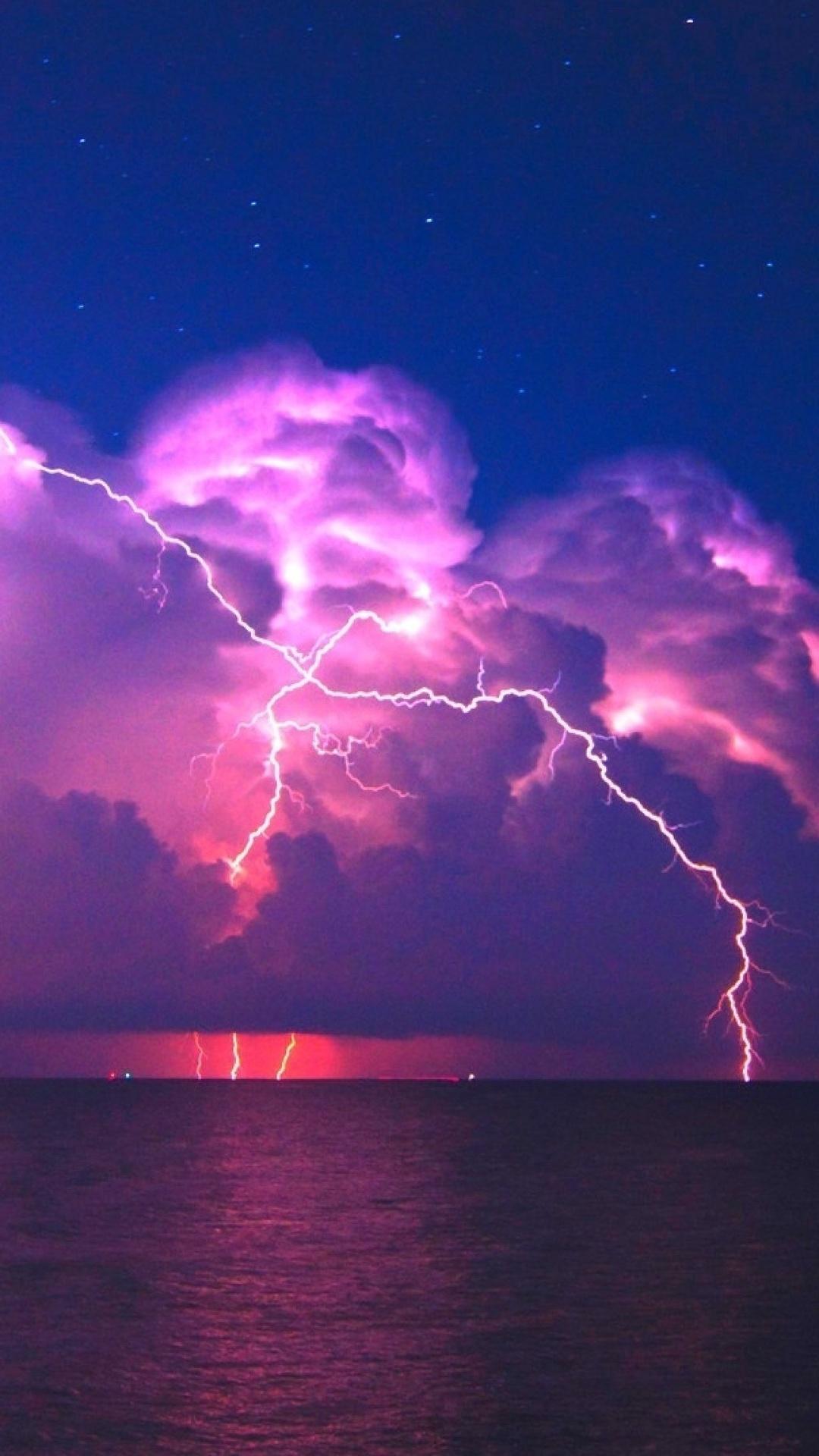 1080x1920 Lightning Pink Sky 4k Iphone 7,6s,6 Plus, Pixel ...
