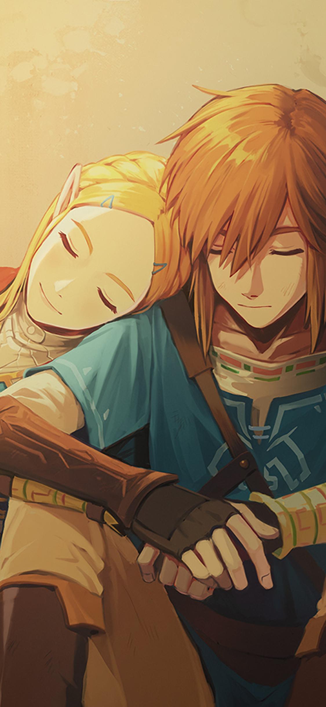 1125x2436 Link And Zelda In The Legend Of Zelda Breath Of The Wild
