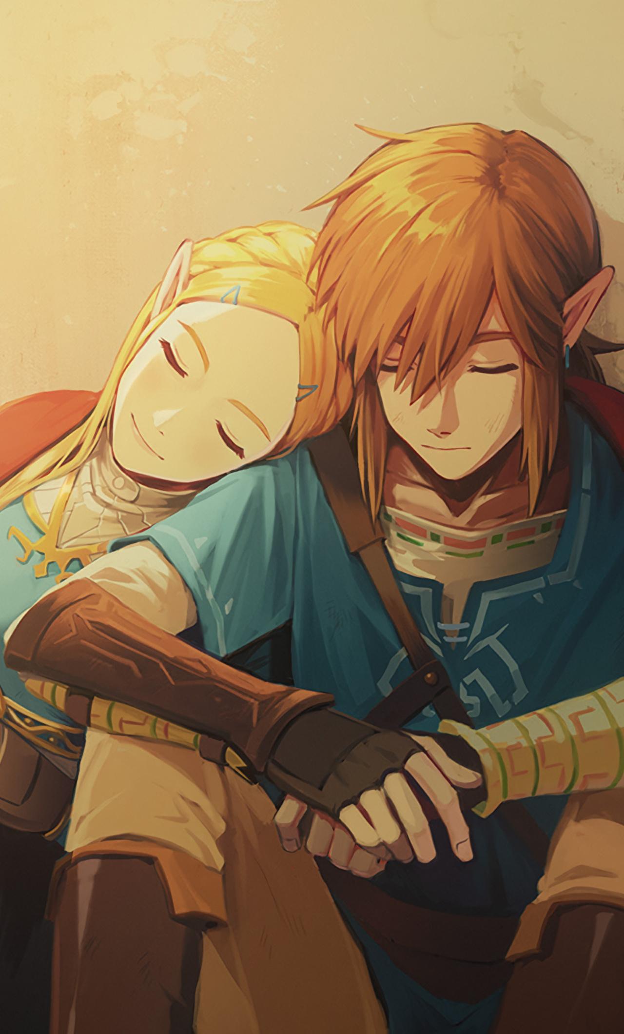 1280x2120 Link And Zelda In The Legend Of Zelda Breath Of ...