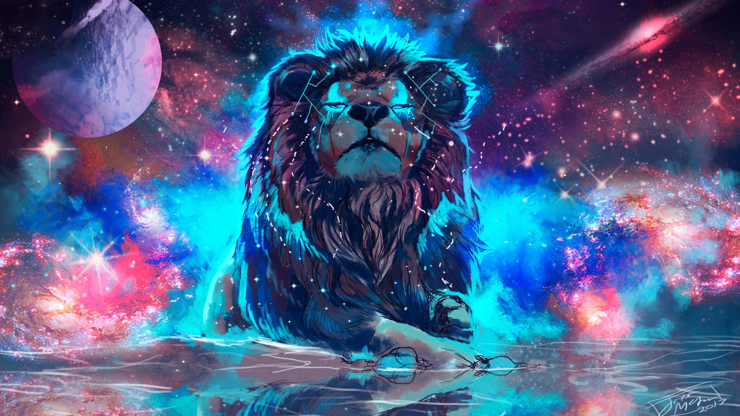 2560x1440 Lion 4k Artistic Colorful 1440P Resolution HD 4k ...