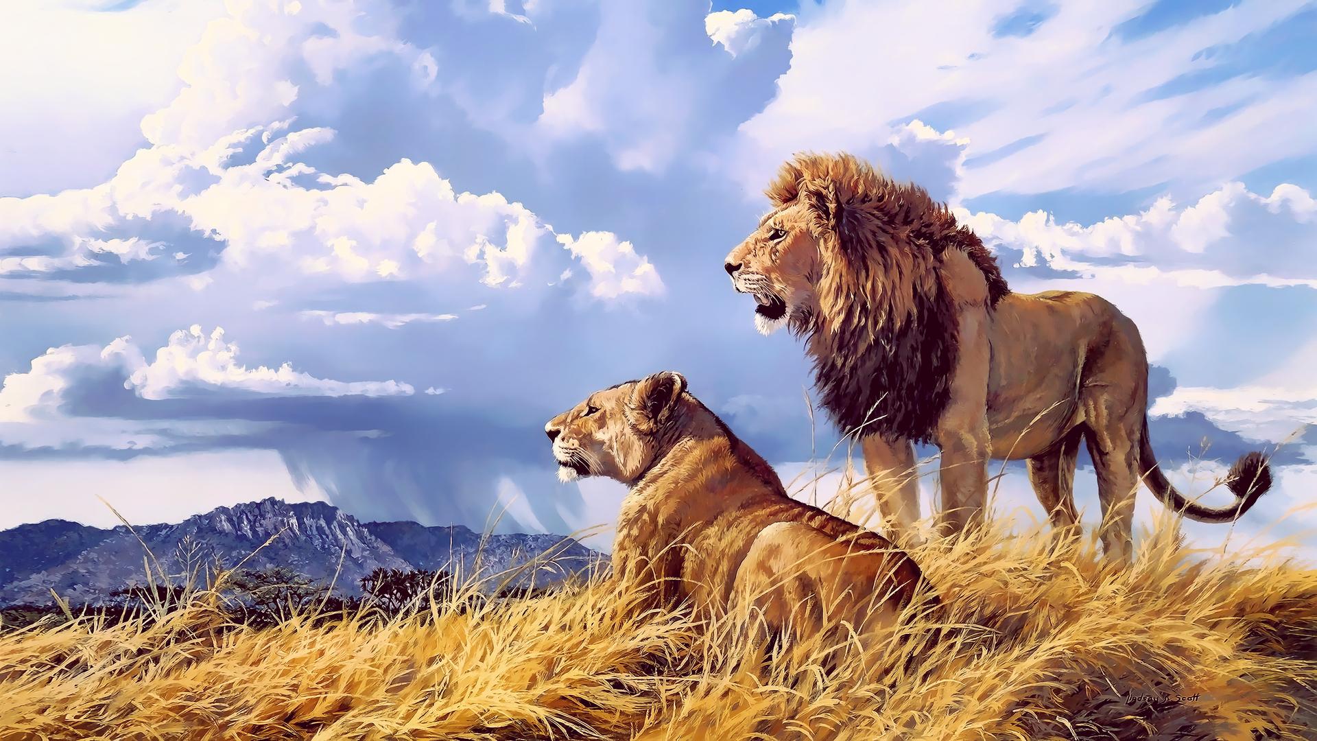 1920x1080 Lion Lioness Artwork 4k Laptop Full HD 1080P HD ...
