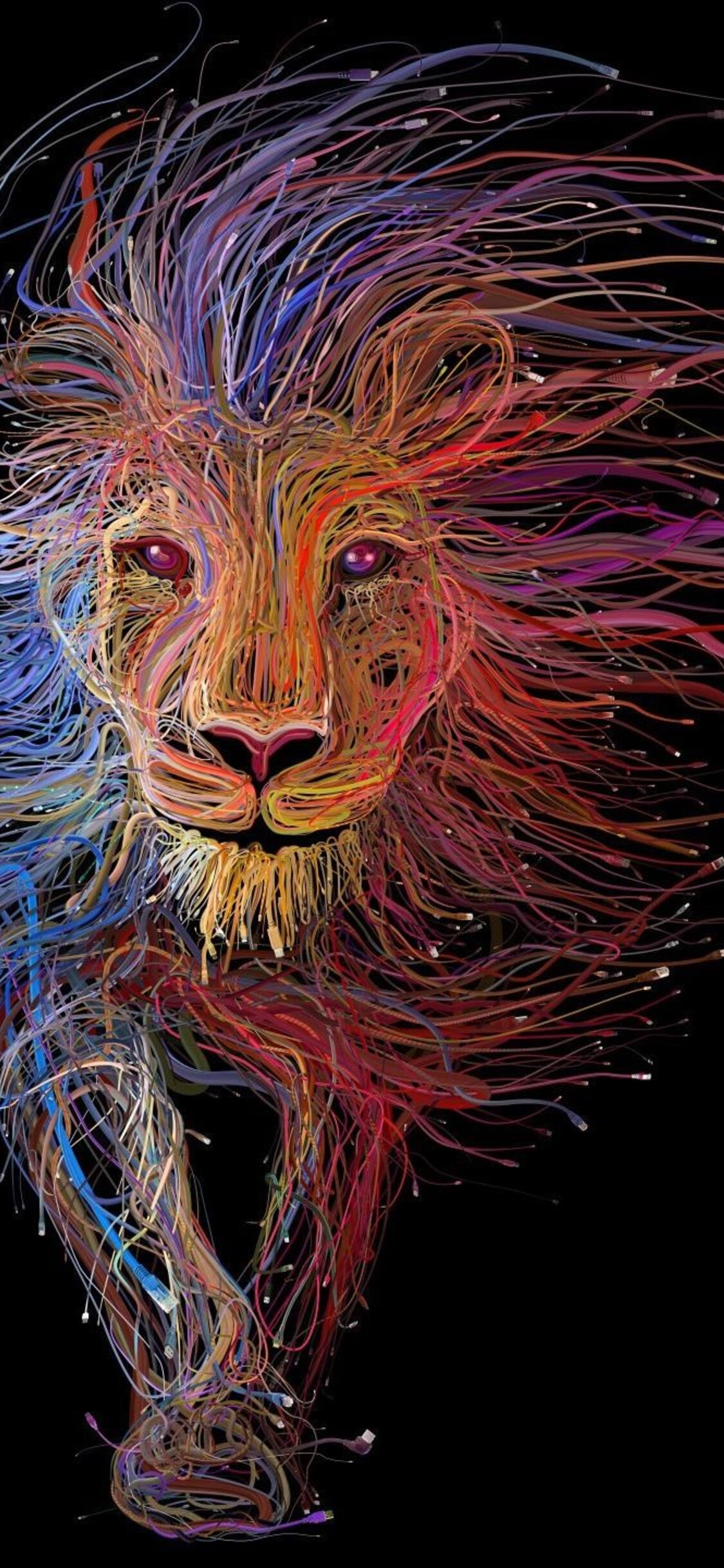 1125x2436 Lion Wires Art Iphone Xs Iphone 10 Iphone X Hd 4k