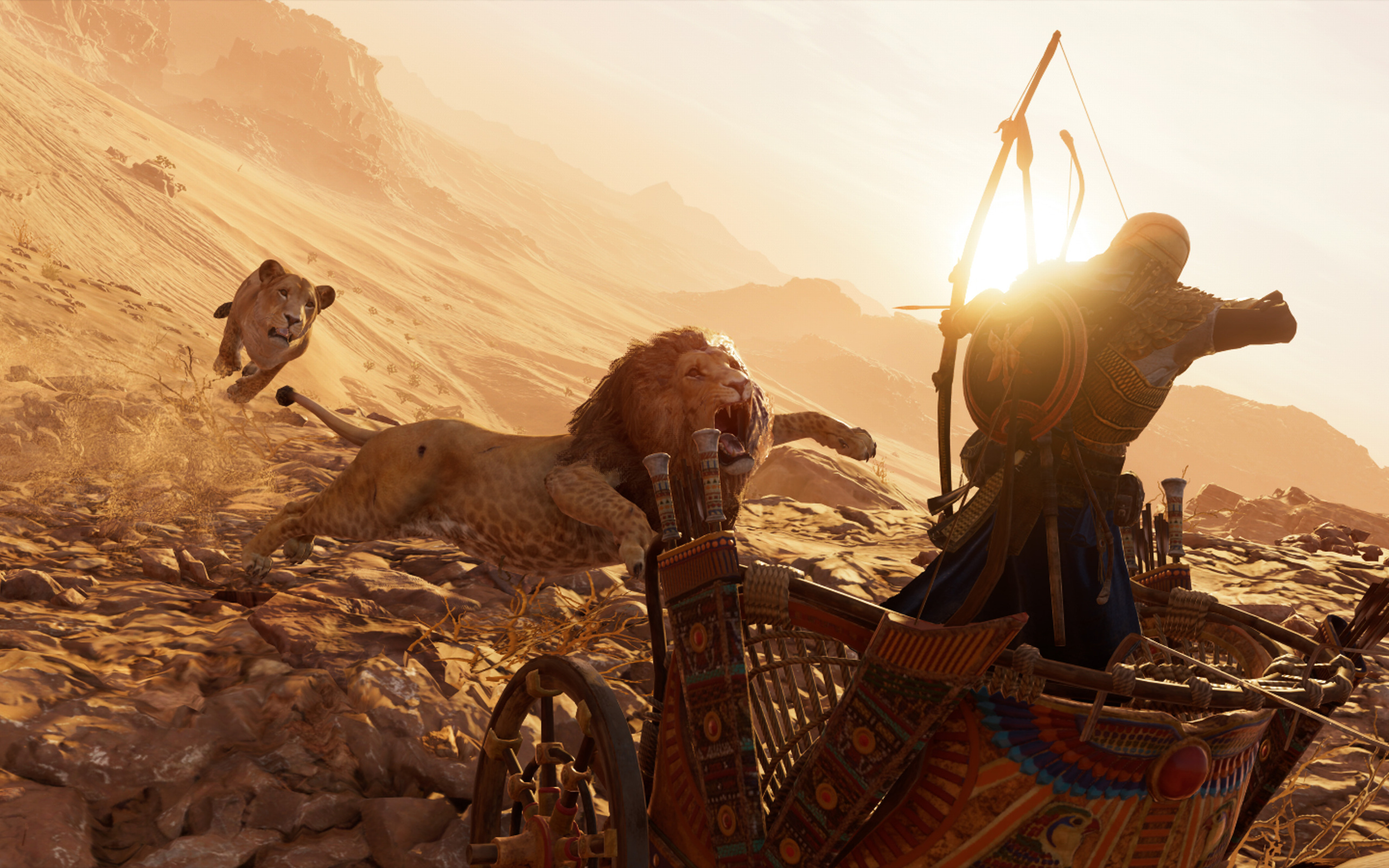 2560x1600 Lions Assassins Creed Origins 4k 2560x1600