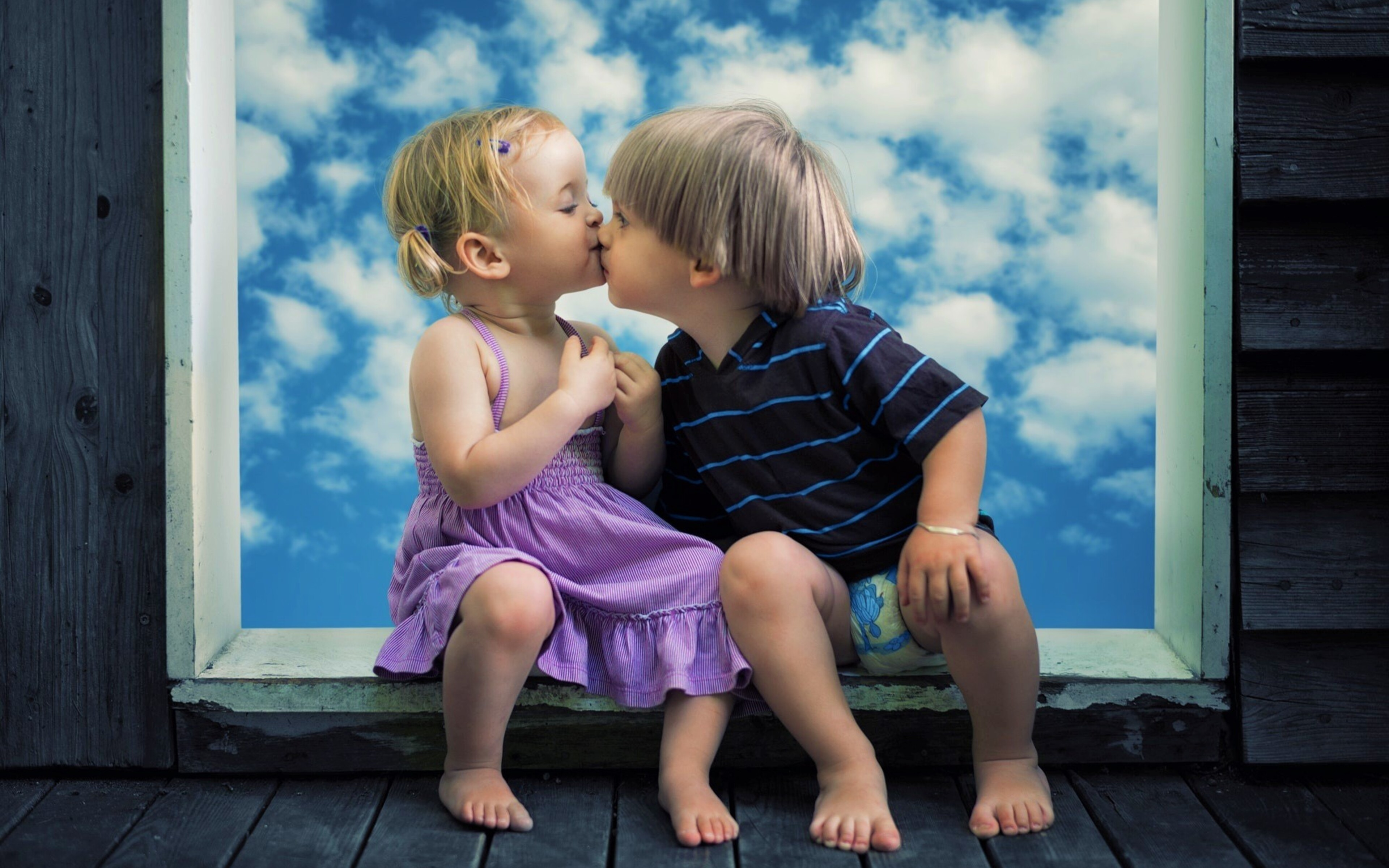3840x2400 Little Boy Little Girl Cute Kiss 4k Hd 4k Wallpapers