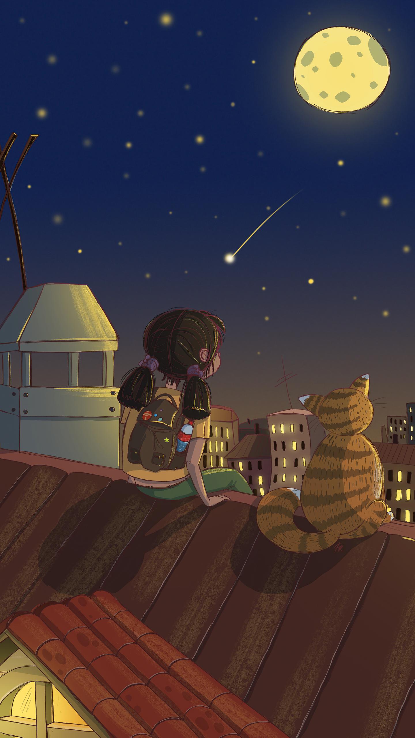 little-girl-looking-at-the-stars-with-cat-4k-kj.jpg