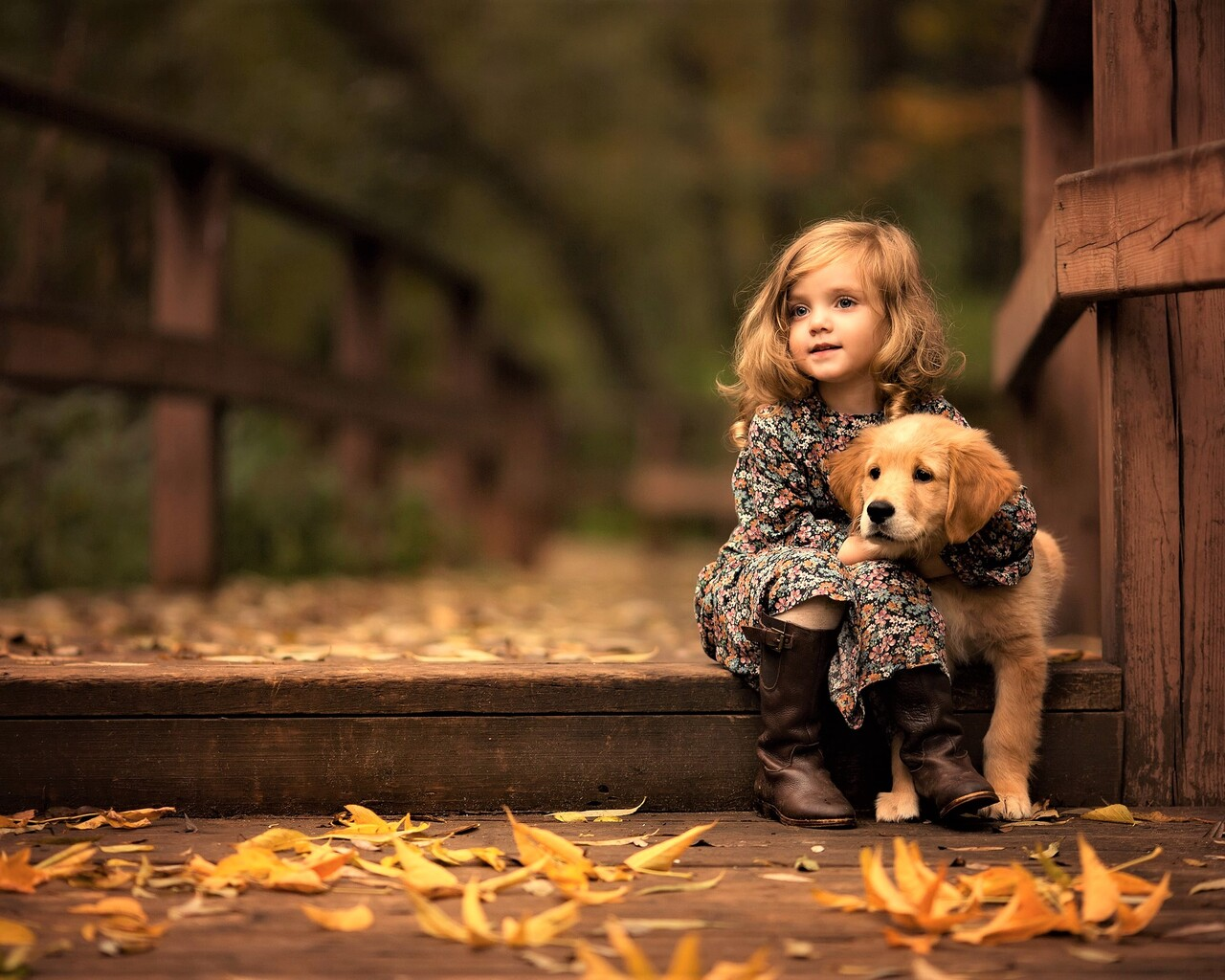 1280x1024 Little Girl With Golden Retriever Puppy 1280x1024 Resolution Hd 4k Wallpapers Images Backgrounds Photos And Pictures