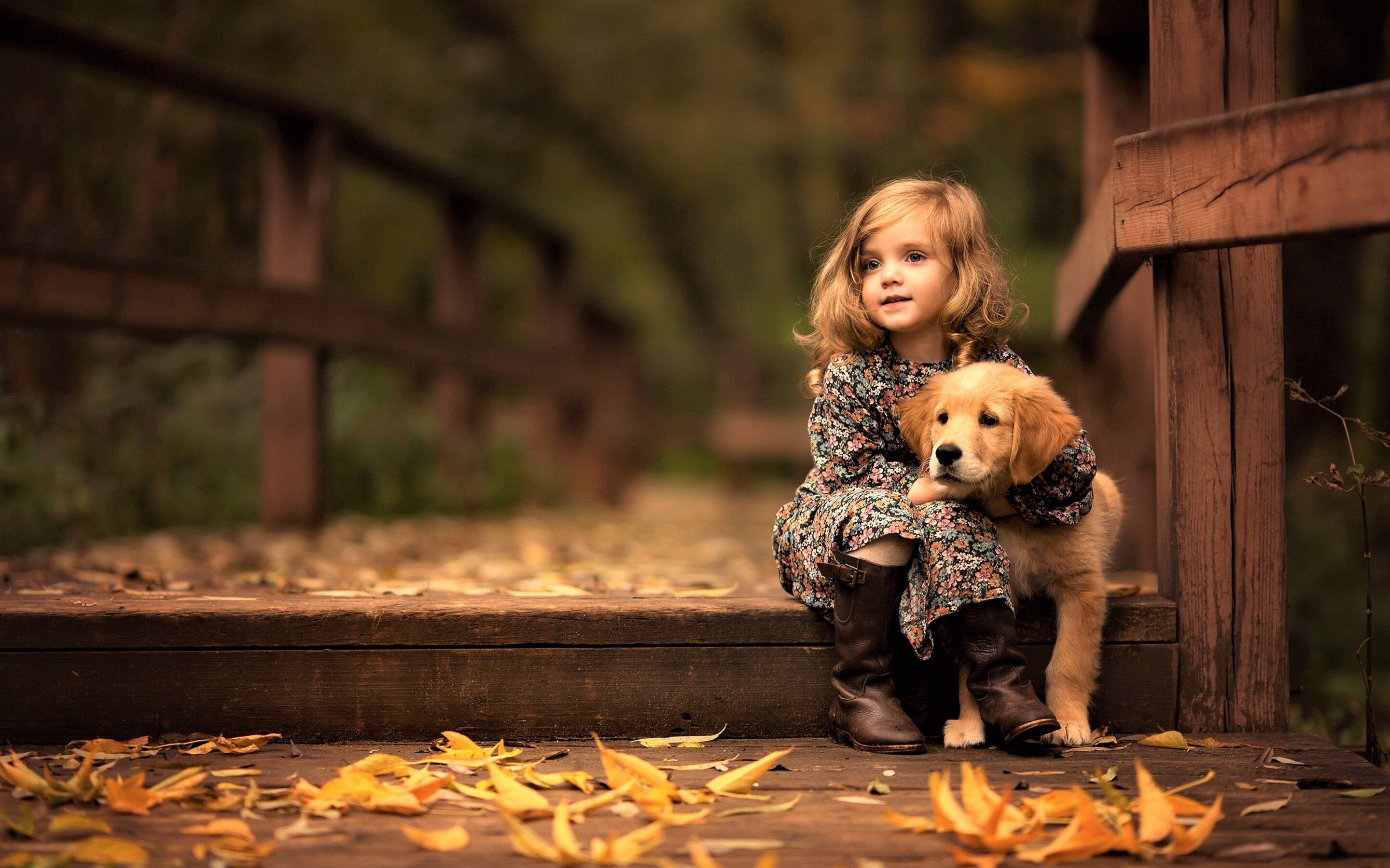2880x1800 little girl with golden retriever puppy macbook pro retina