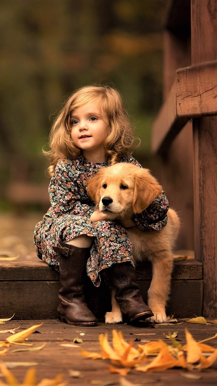 750x1334 Little Girl With Golden Retriever Puppy Iphone 6 Iphone 6s