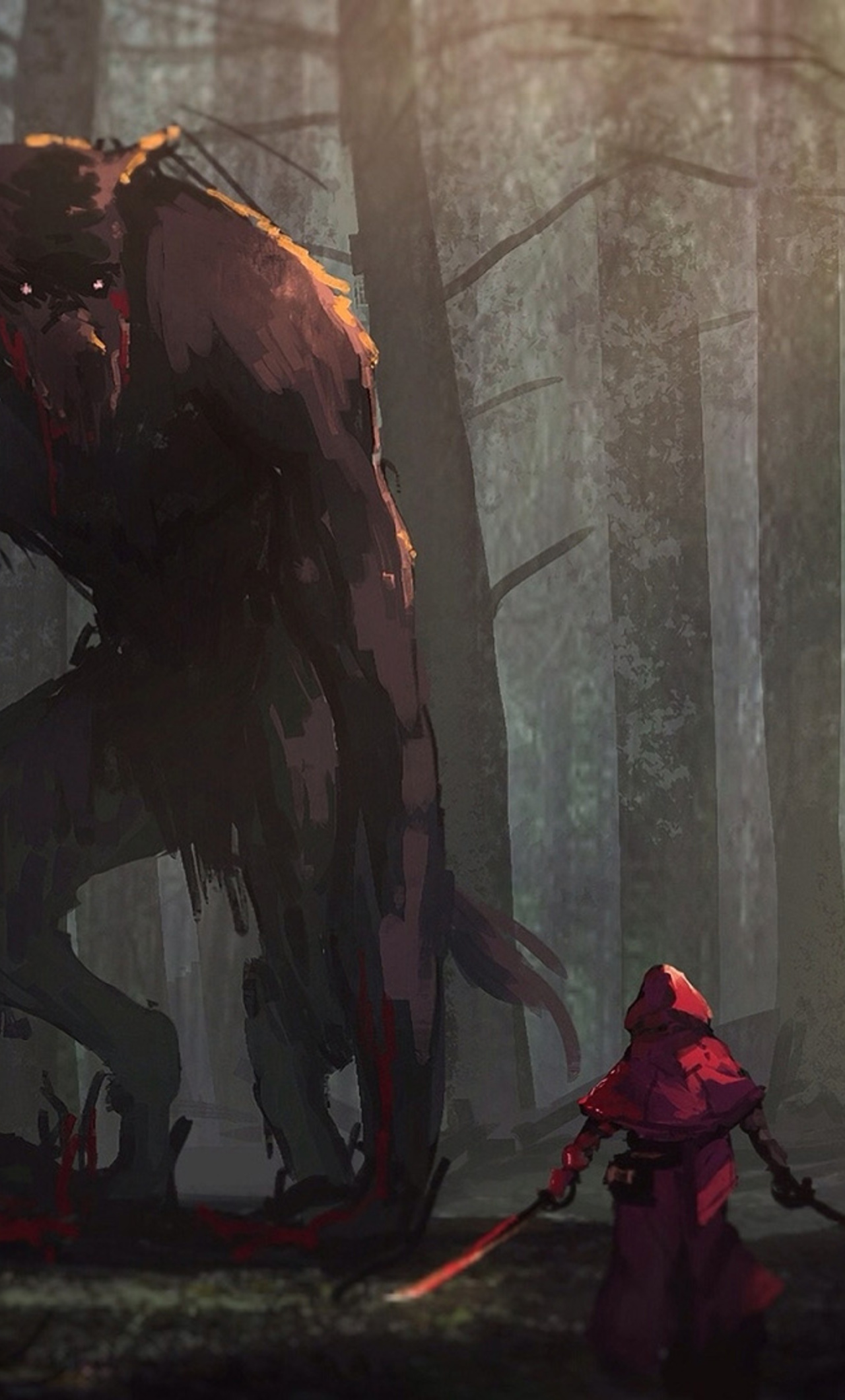 1280x2120 Little Red Riding Hood Vs Werewolves Fairy Tale Artwork