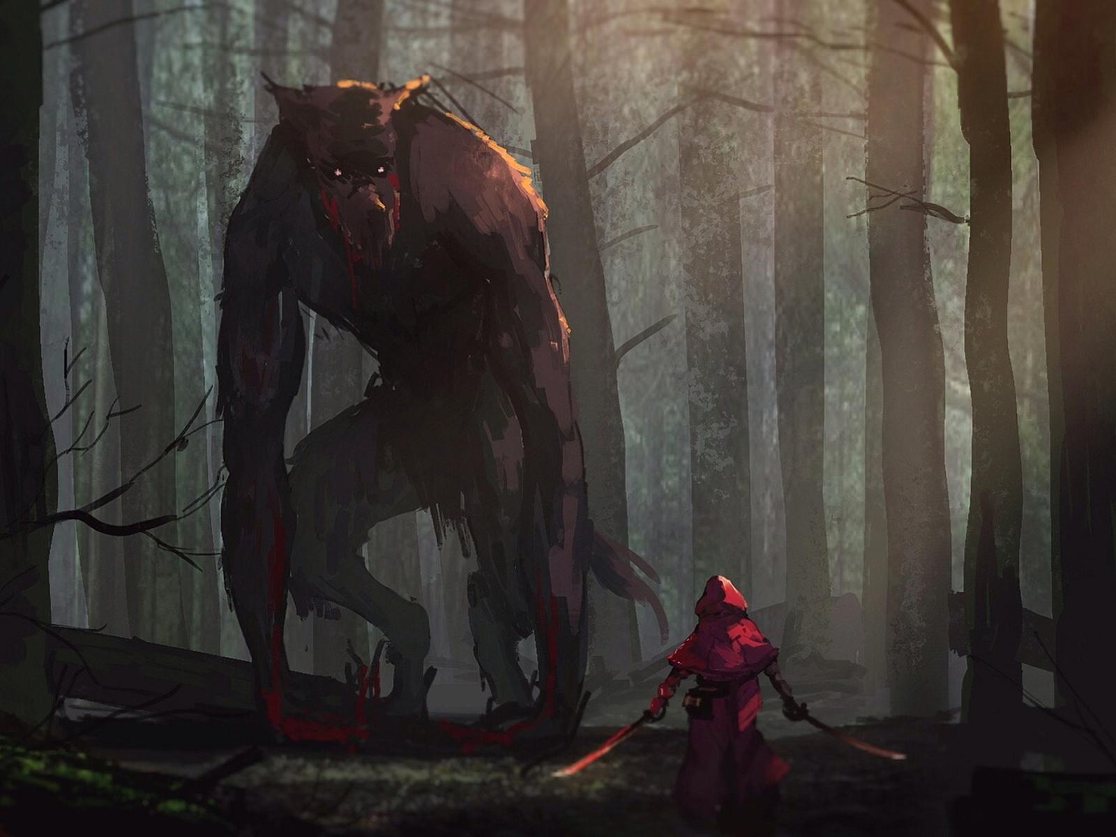 1600x1200 Little Red Riding Hood Vs Werewolves Fairy Tale Artwork