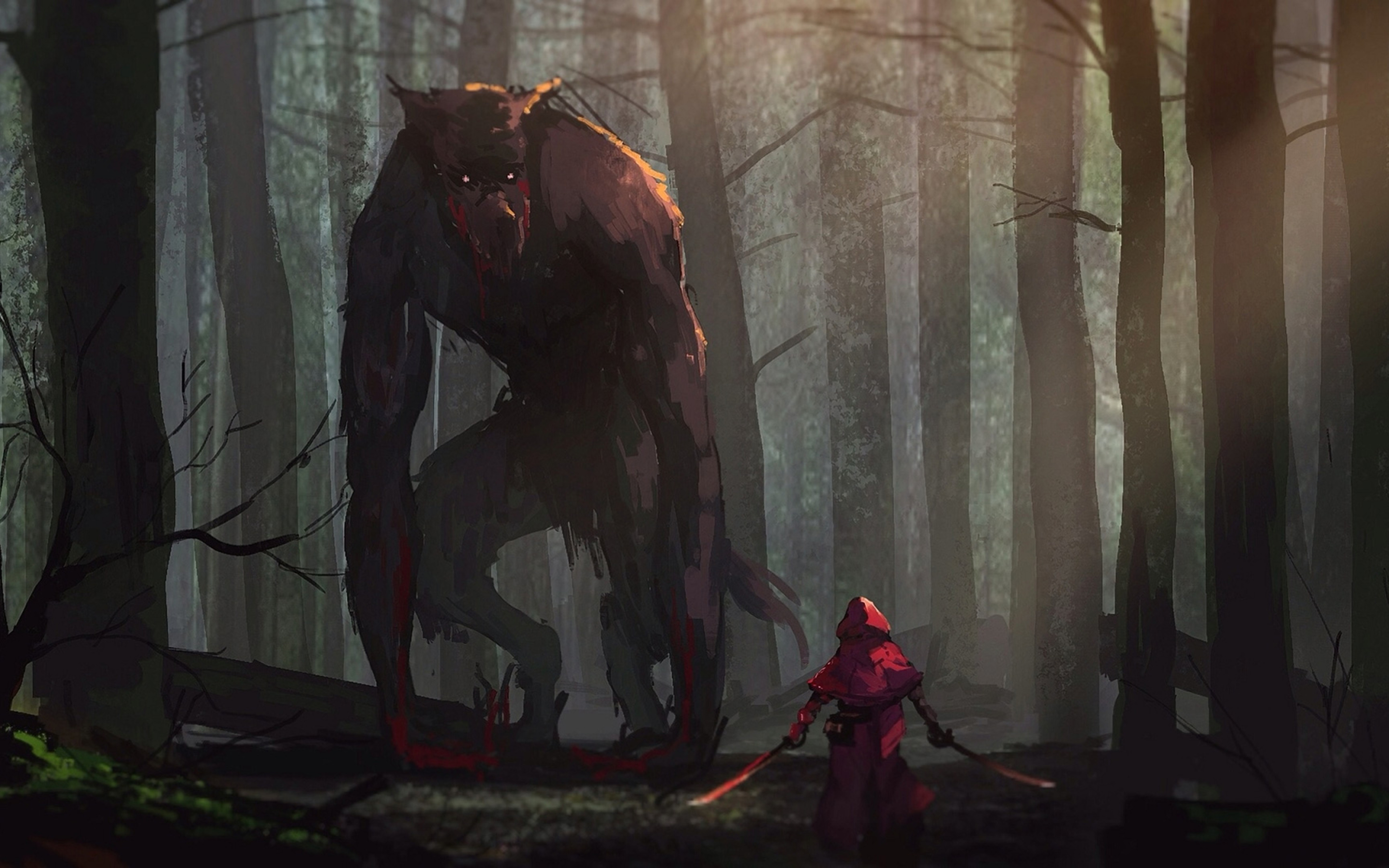 2880x1800 Little Red Riding Hood Vs Werewolves Fairy Tale Artwork