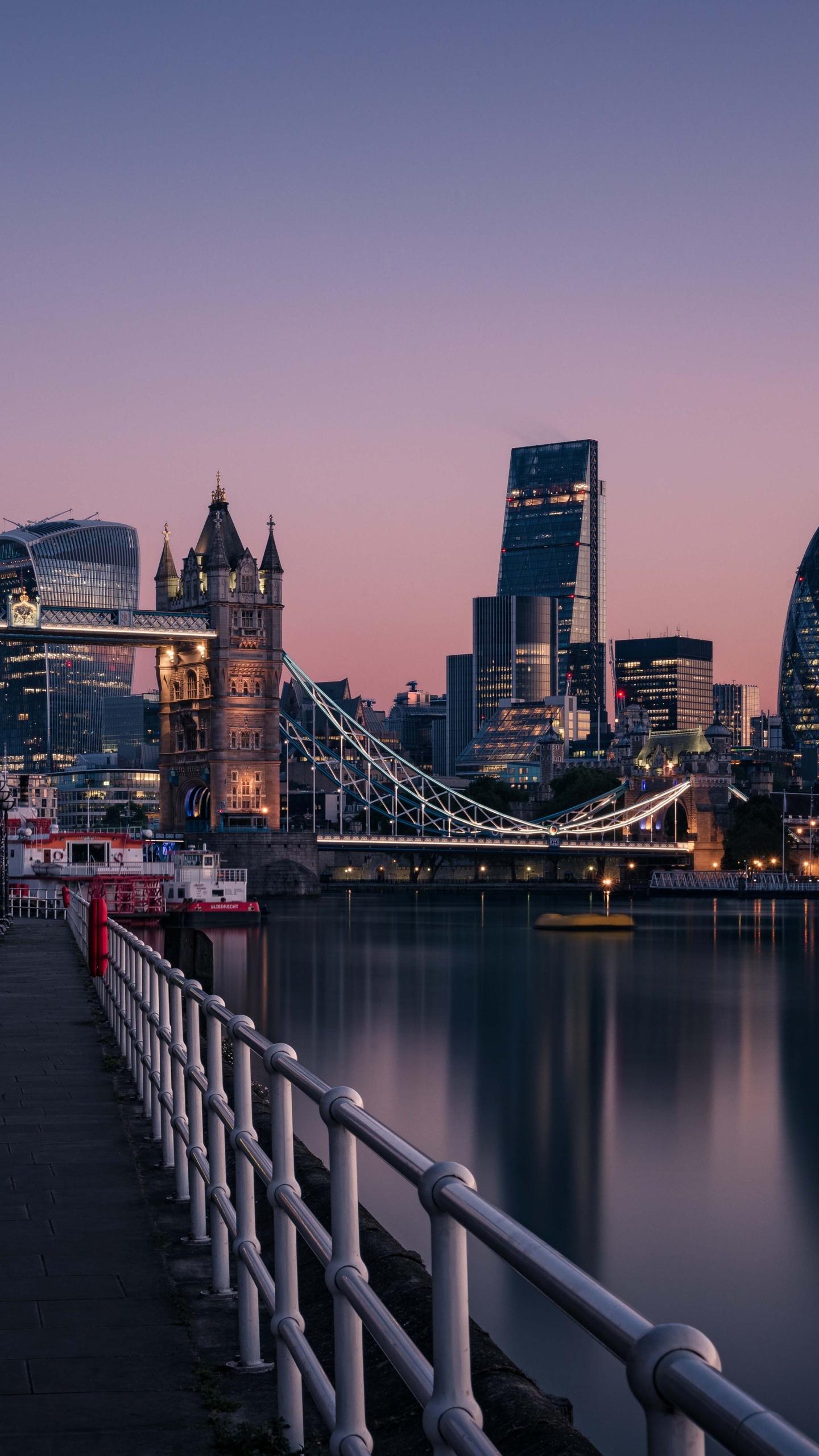 1440x2560 london england tower bridge thames river cityscape urban