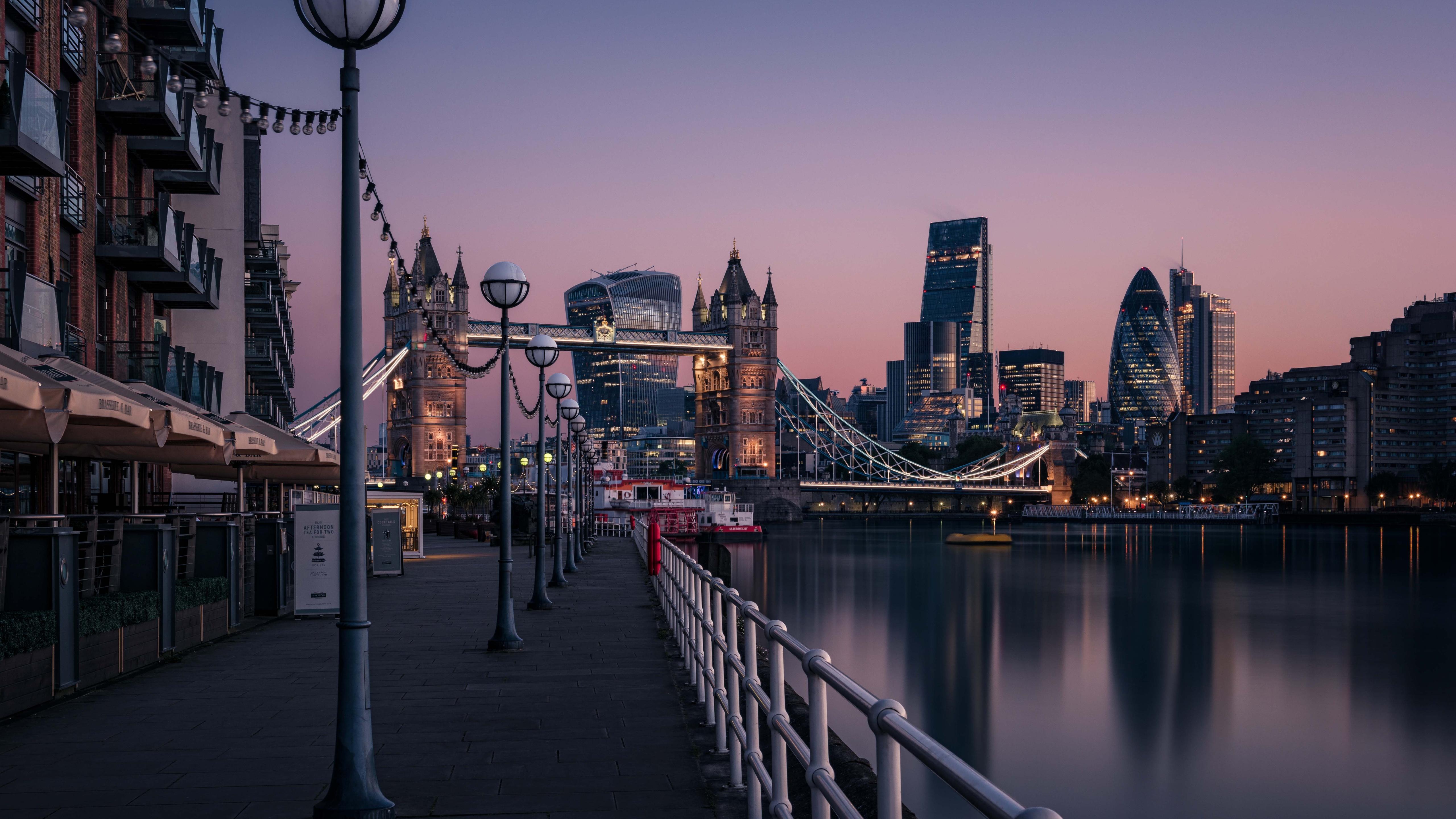 5120x2880 london england tower bridge thames river cityscape urban