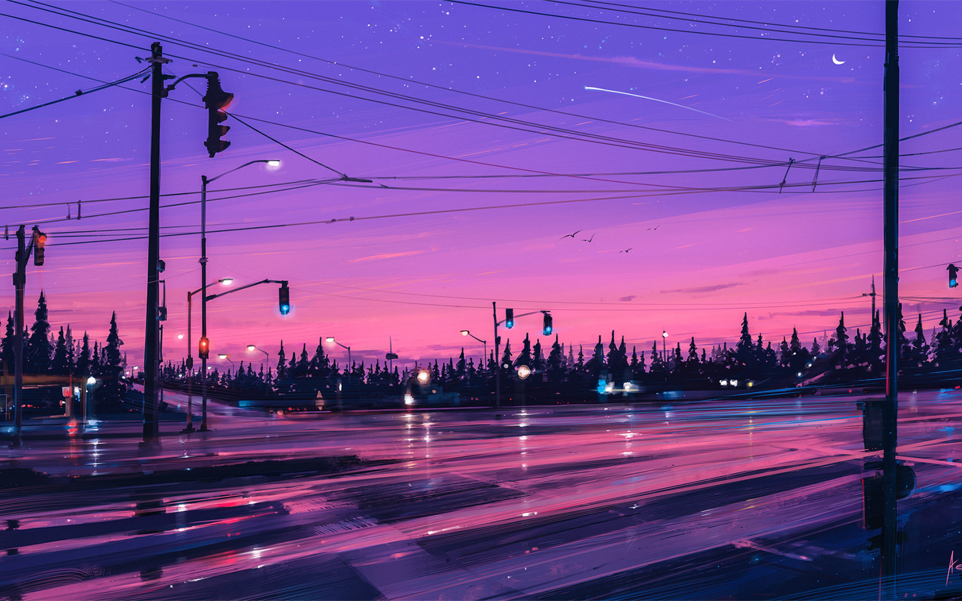 1920x1200 Lonely Street Lights Road