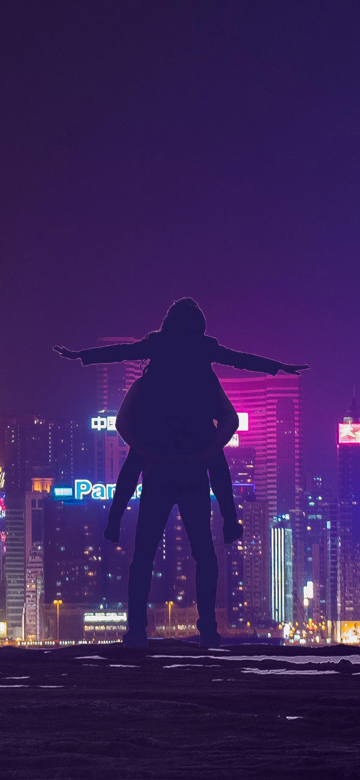 1242x2688 Love Couple Roof City Lights Iphone Xs Max Hd 4k