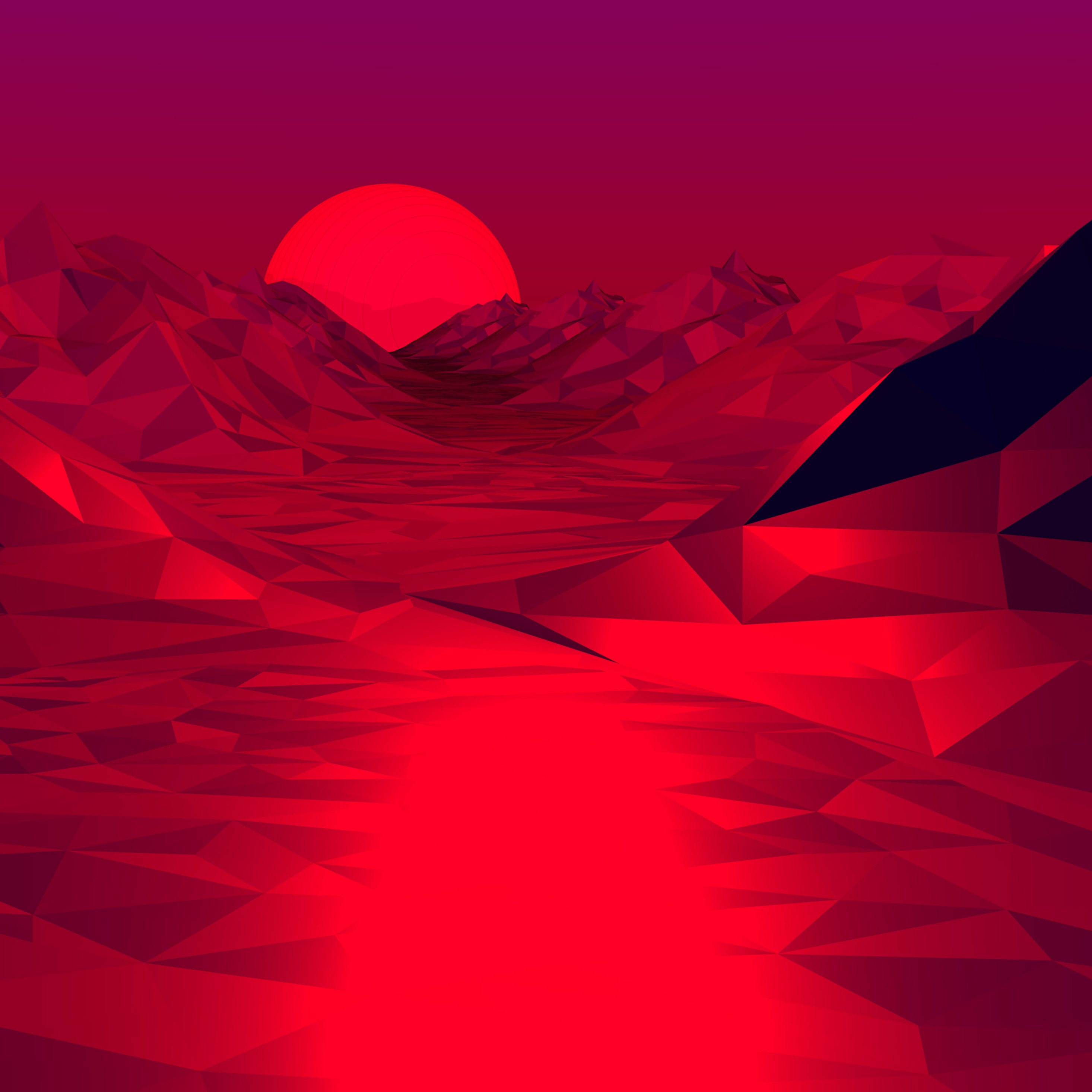 2932x2932 Low Poly Red 3d Abstract 4k Ipad Pro Retina