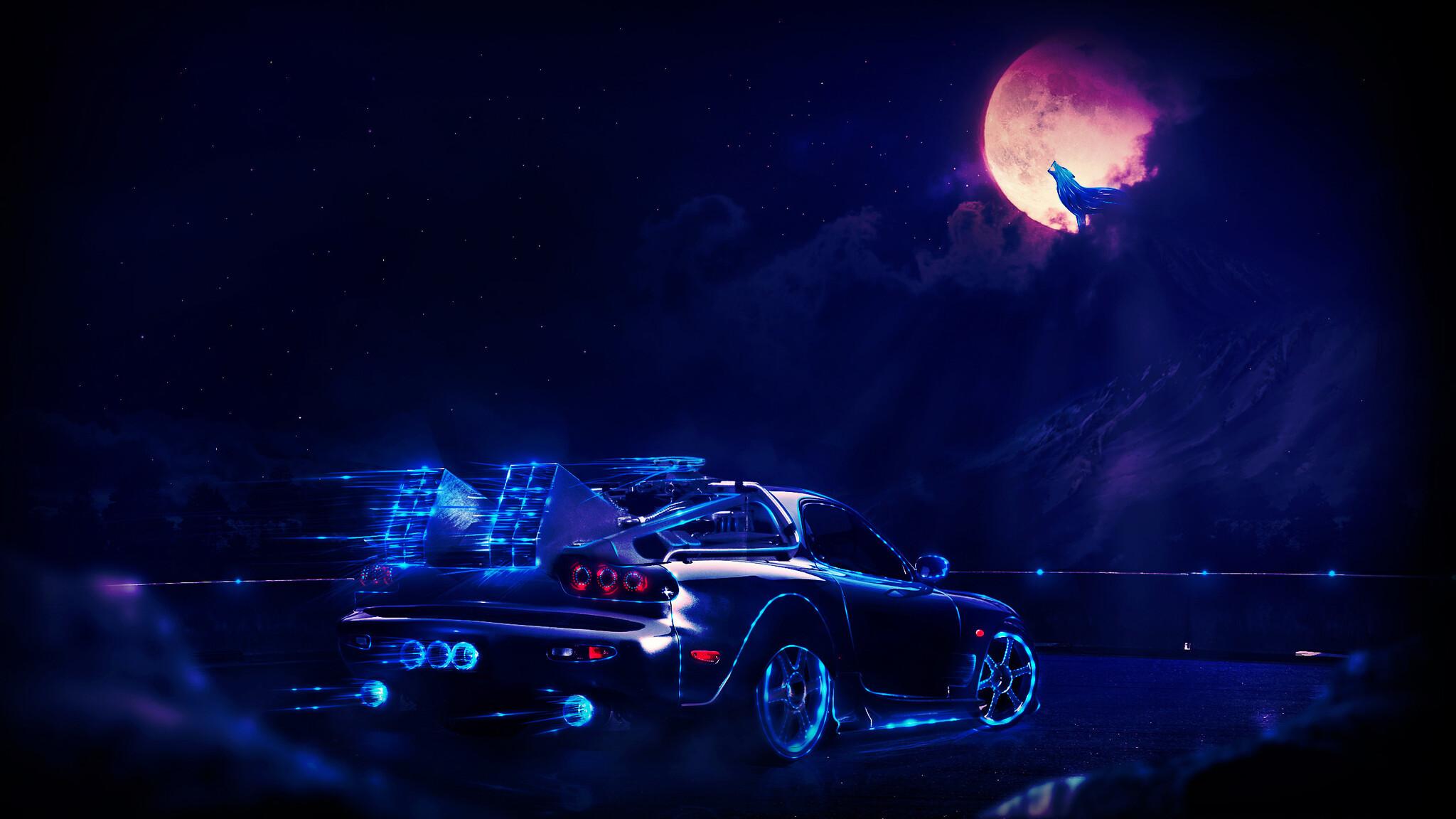 Madza Rx7 Neon Wolf Night Artwork Mz