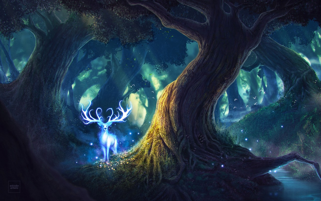 1280x800 magic forest fantasy deer 720p hd 4k wallpapers images magic forest fantasy deer dbg voltagebd Choice Image