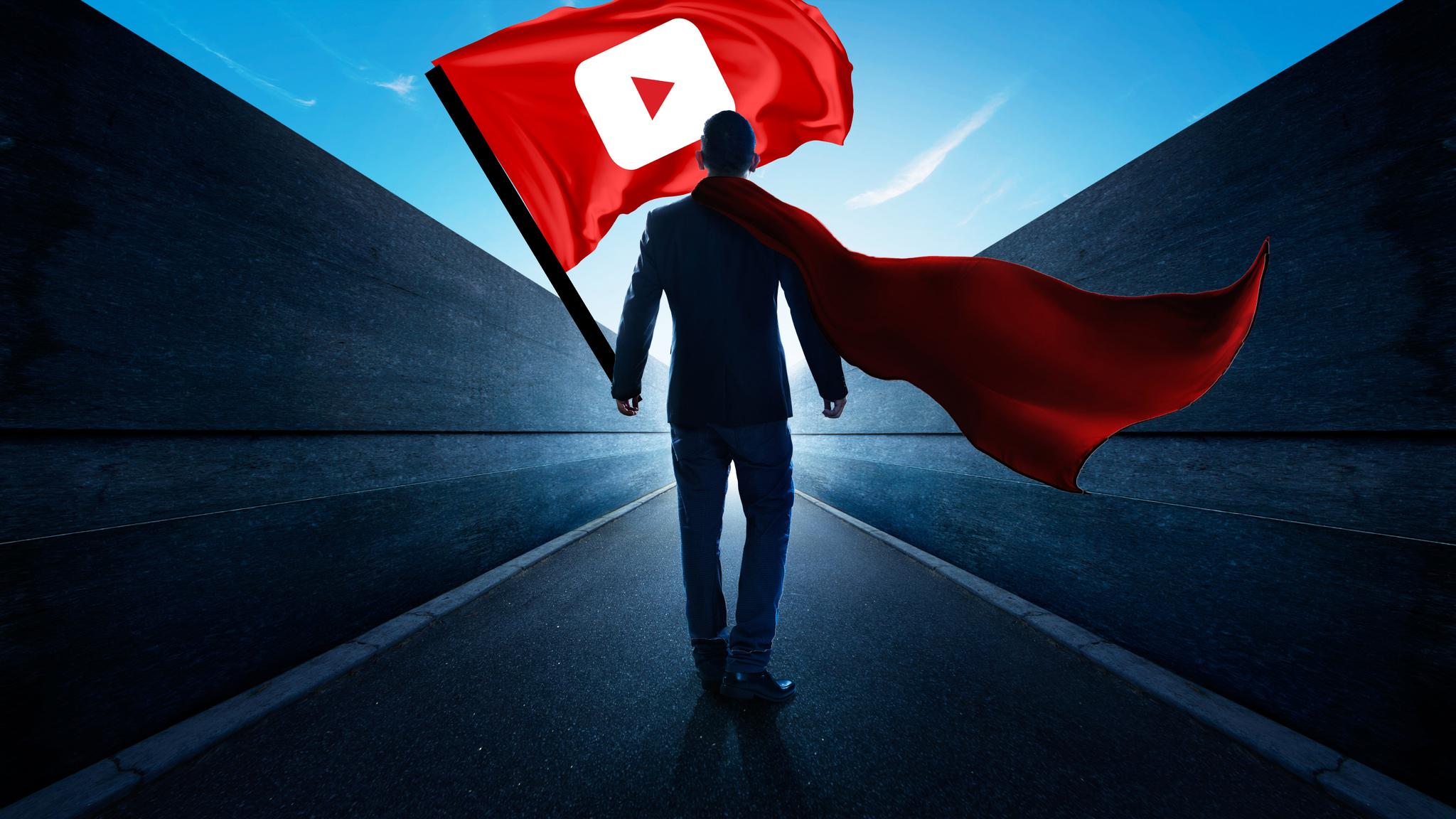 2048x1152 Man With Youtube Flag 2048x1152 Resolution Hd 4k
