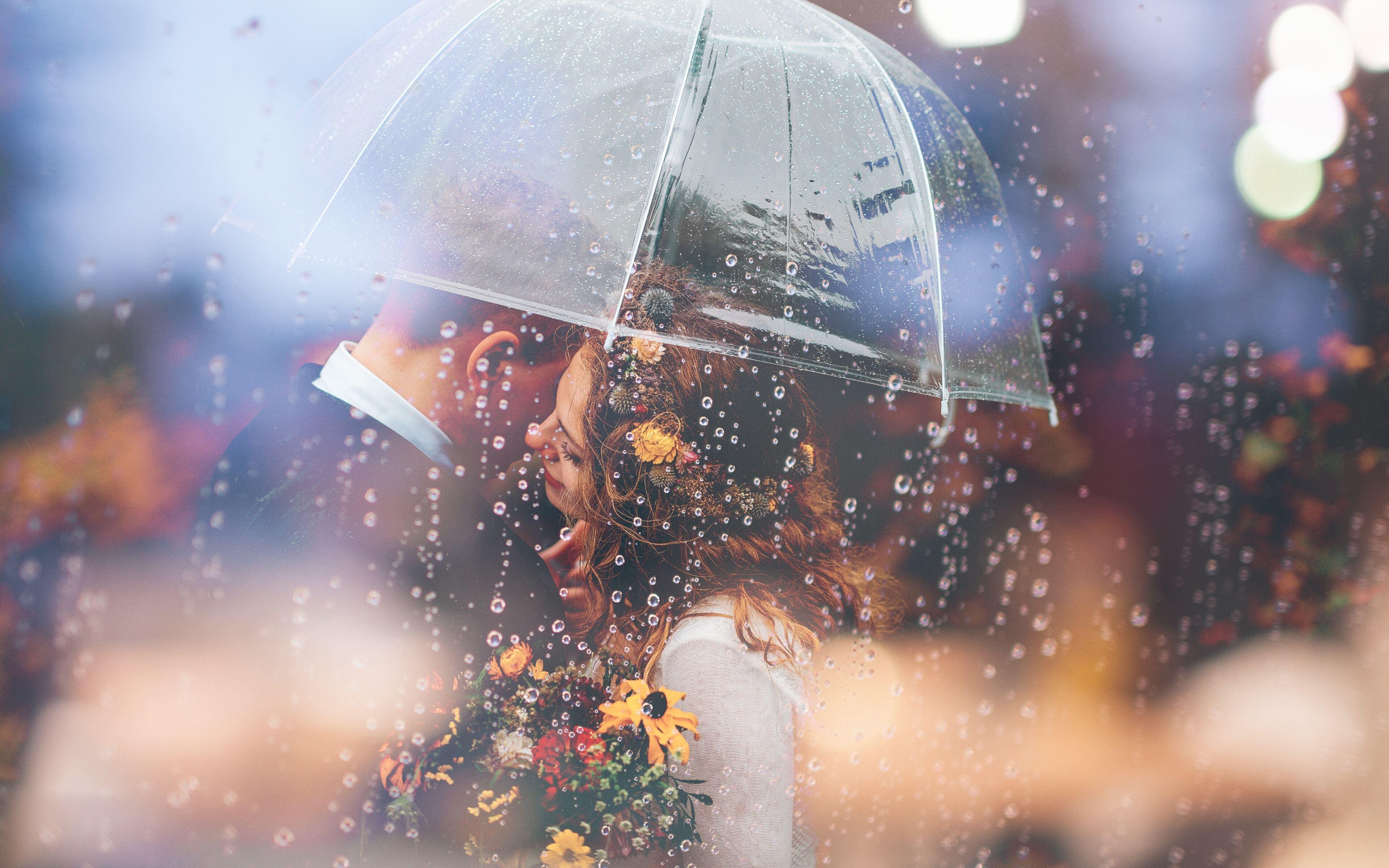 3840x2400 Married Couple Romantic Umbrella Raining Weeding 4k Hd 4k