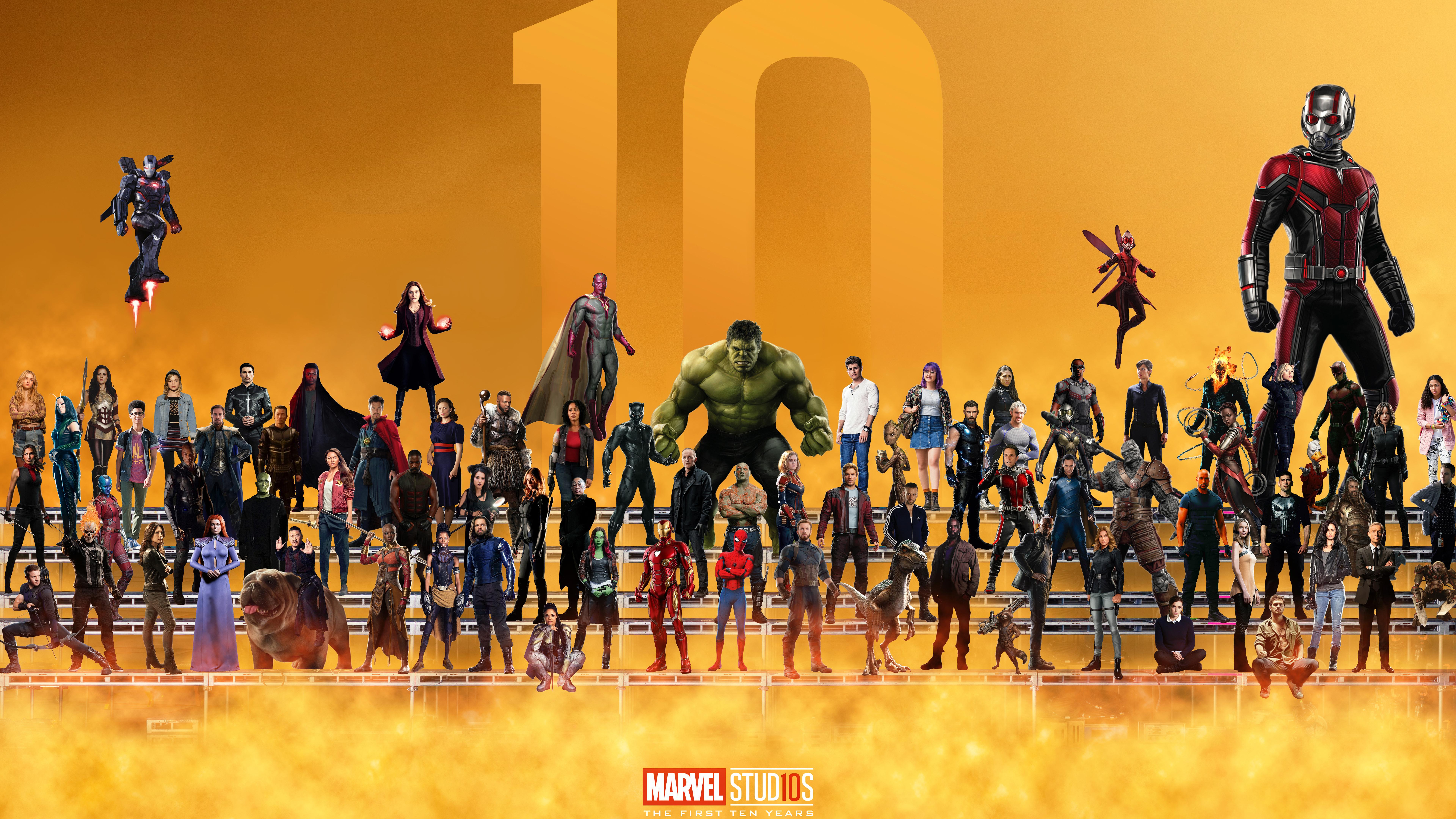 7680x4320 Marvel Superheroes 10 Year Anniversary Artwork 8k