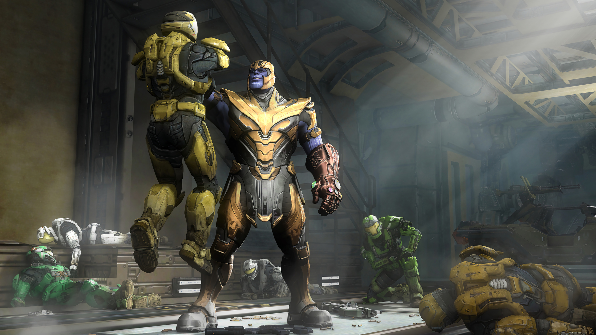 1920x1080 Marvel Thanos And Halo Spartan Laptop Full Hd