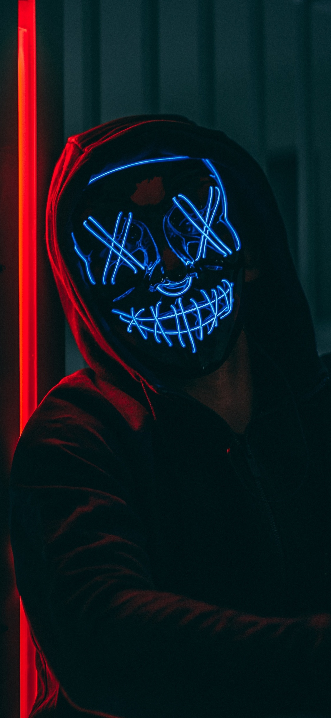 1125x2436 Mask Anonymous Hoodie Guy 5k Iphone Xs Iphone 10