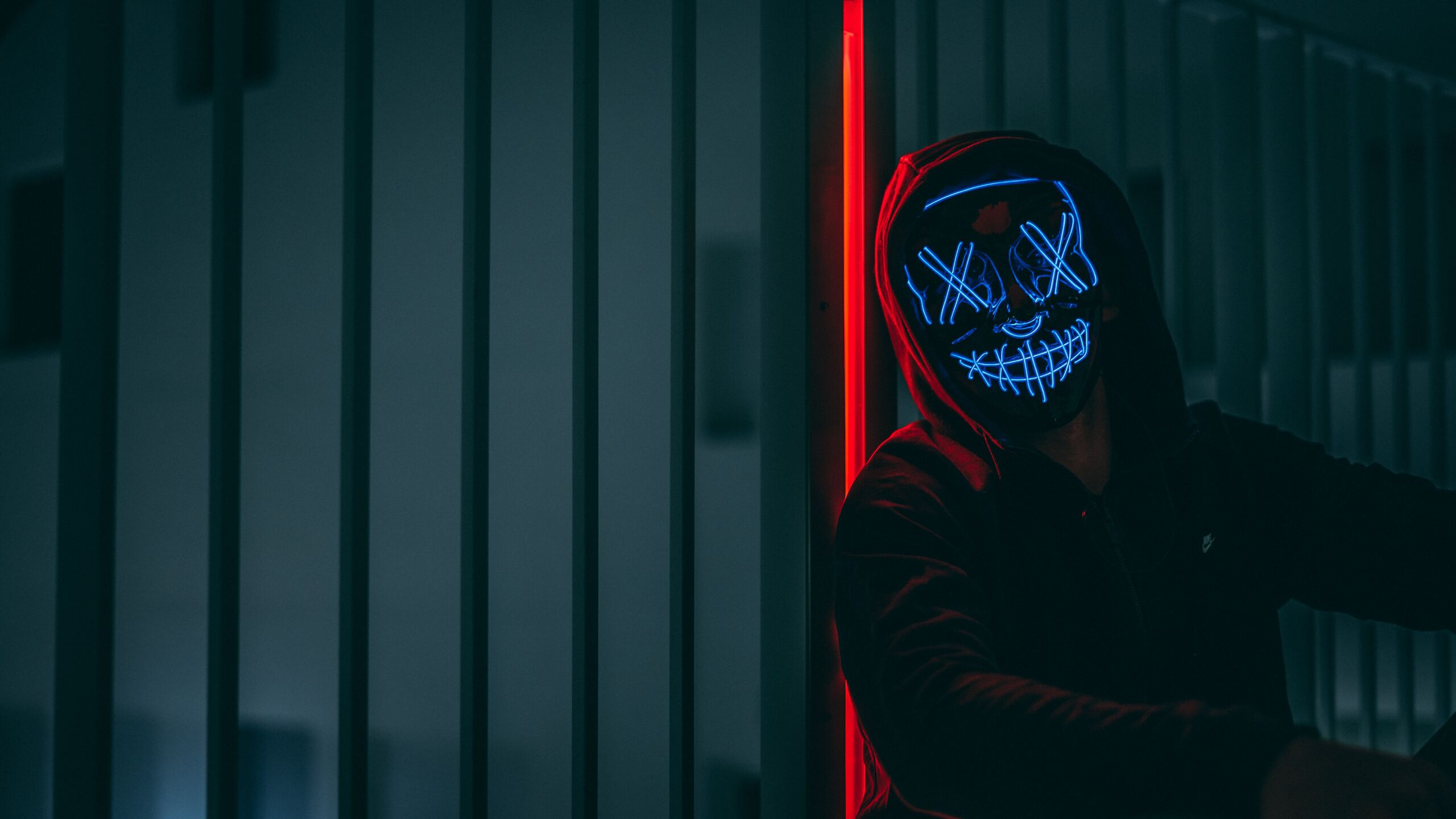 2560x1440 Mask Anonymous Hoodie Guy 5k 1440P Resolution HD ...