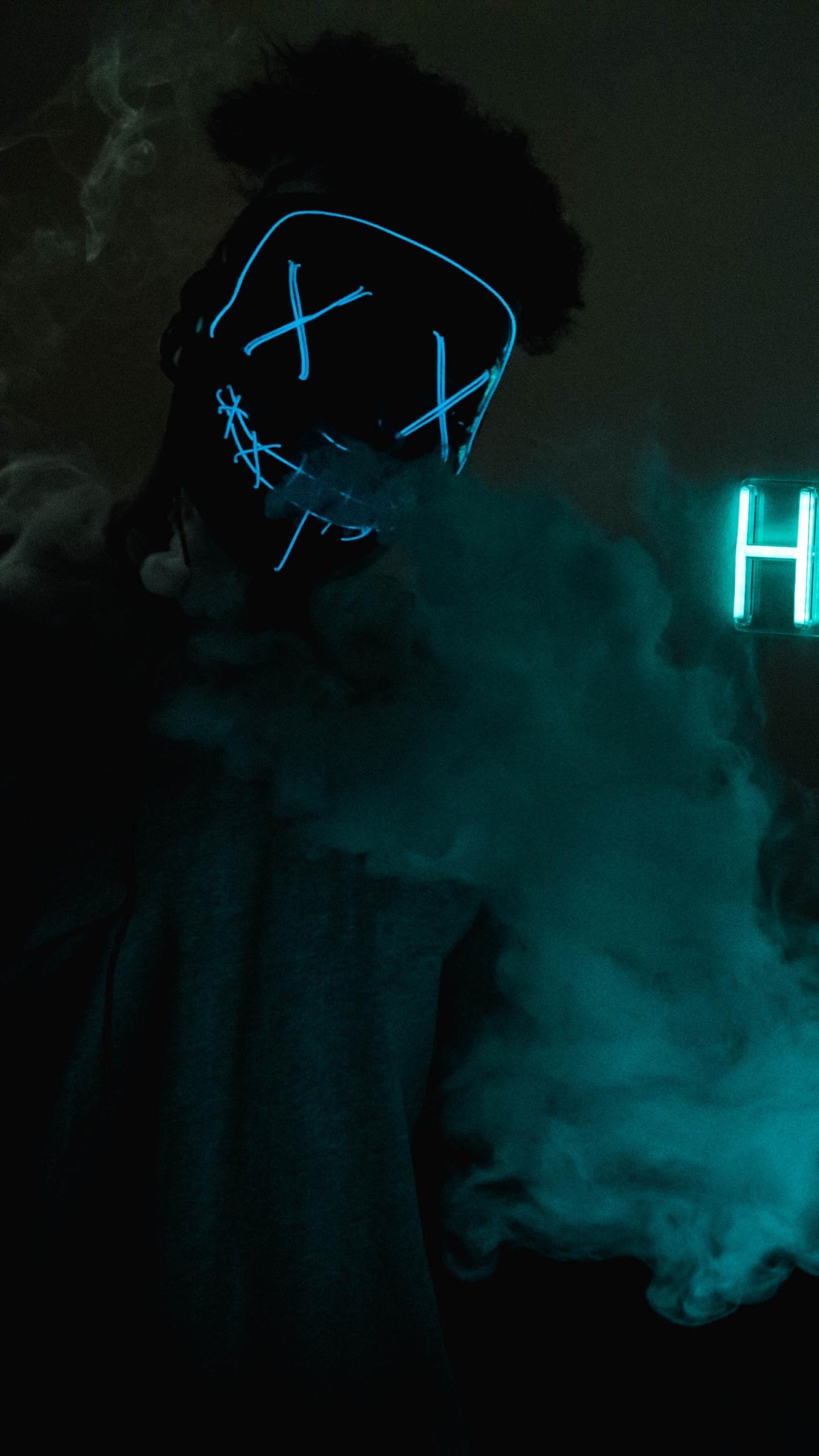 1440x2560 Mask Guy Hustle Neon Concept 5k Samsung Galaxy S6 S7