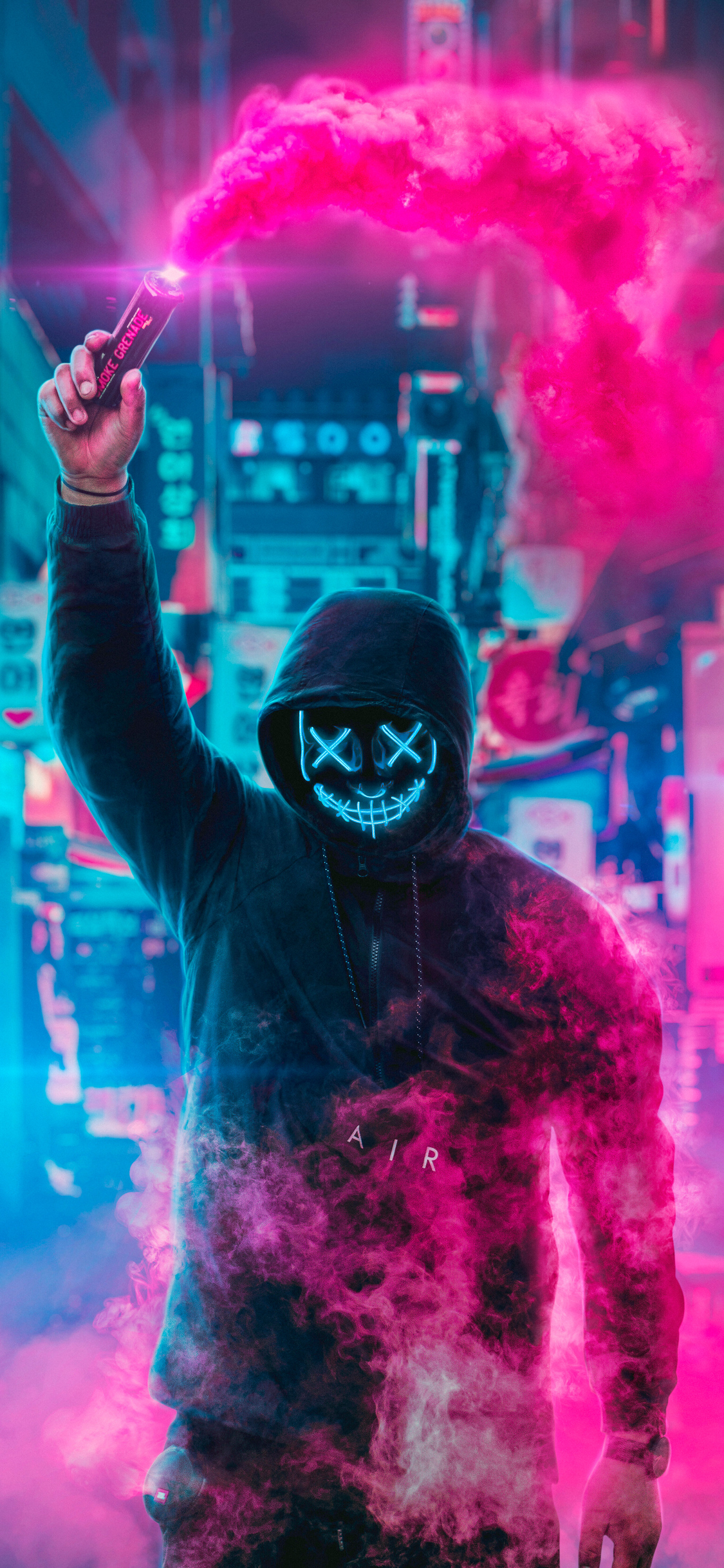 1125x2436 Mask Guy Neon Eye Iphone Xs Iphone 10 Iphone X Hd 4k Wallpapers Images Backgrounds Photos And Pictures