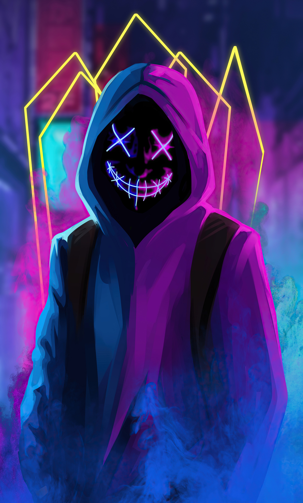 1280x2120 Mask Neon Guy iPhone 6+ HD 4k Wallpapers, Images ...
